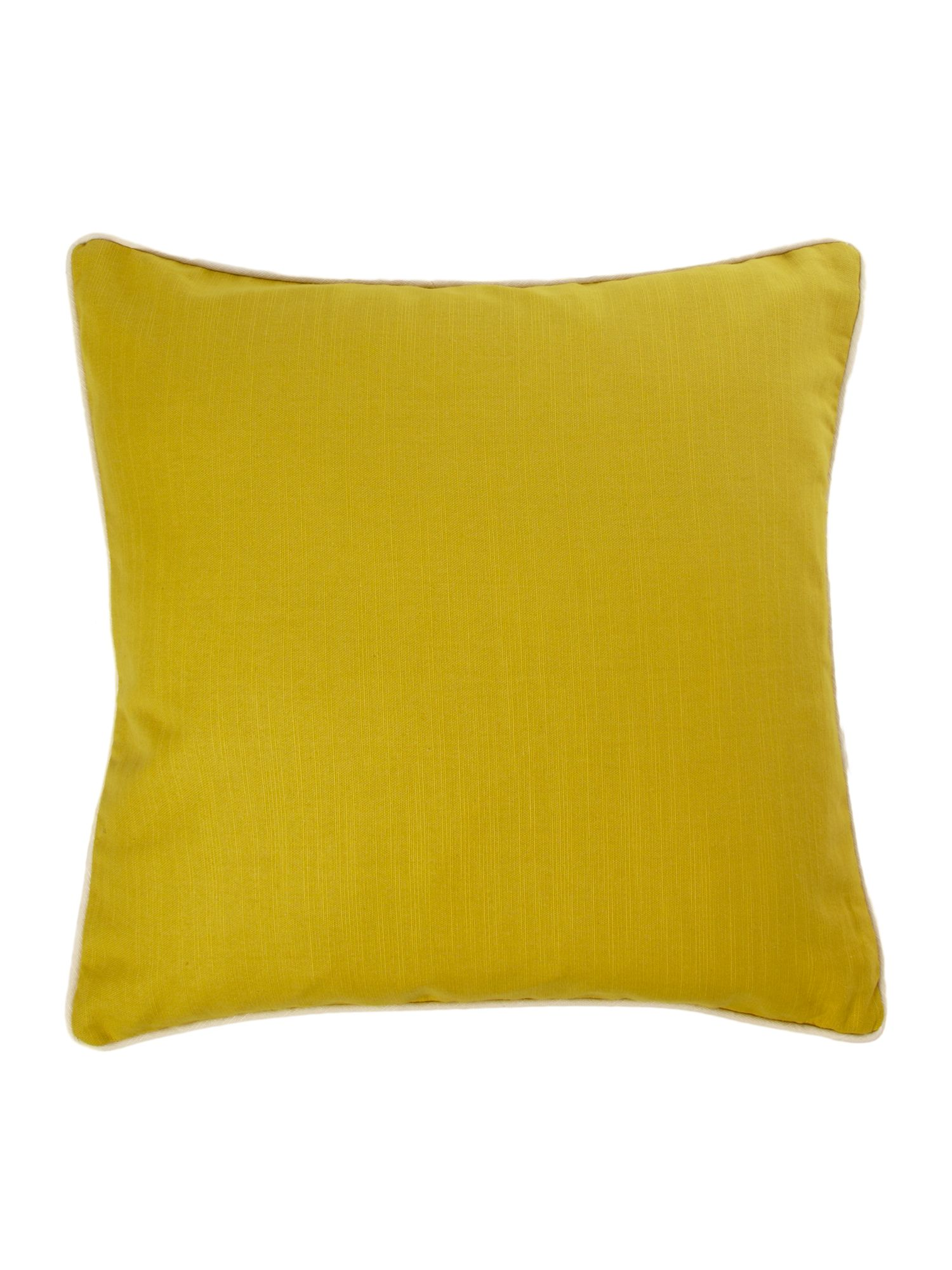 Lime cotton cushion with contrast piping