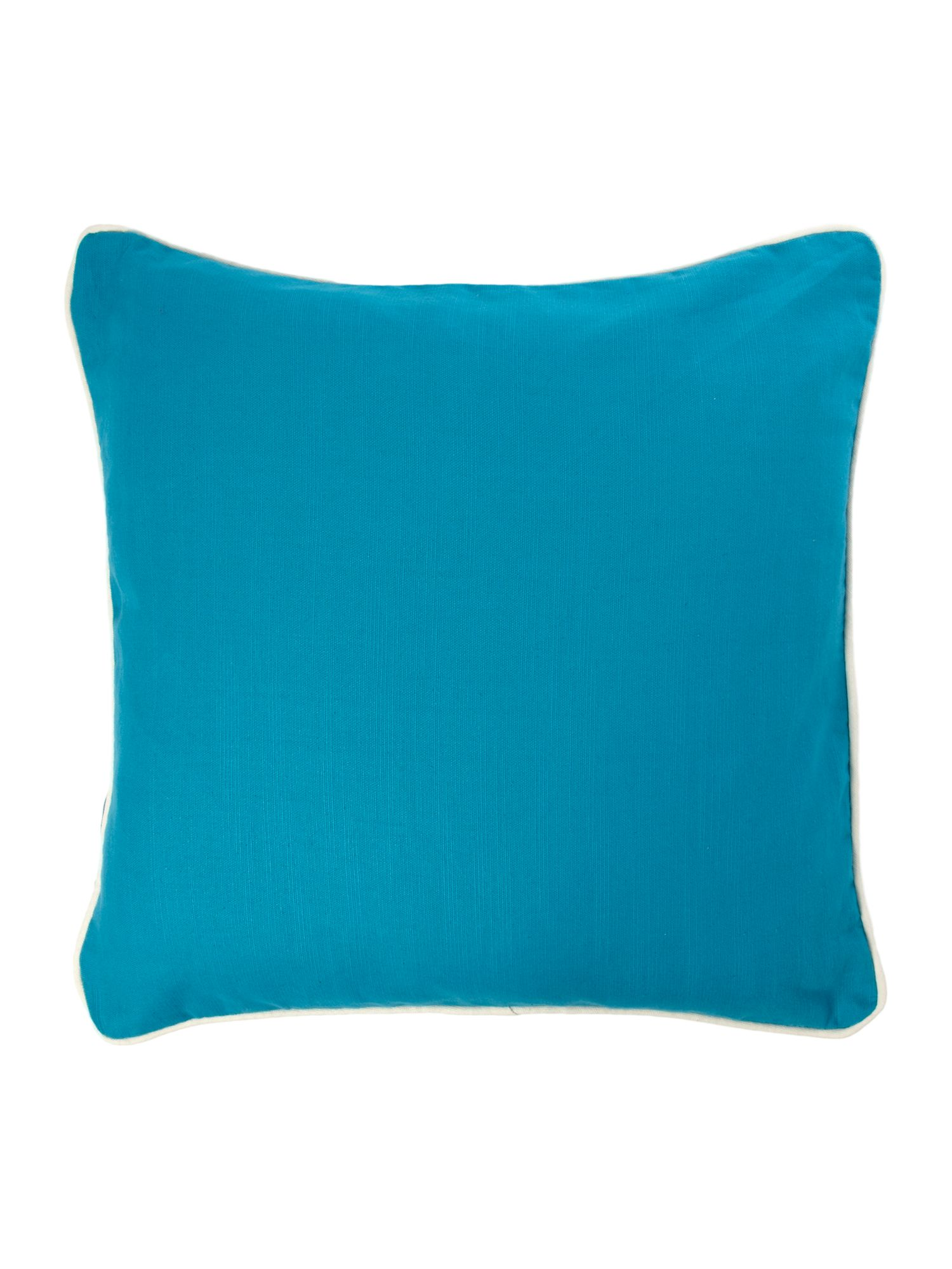 Teal cotton cushion with contrast piping