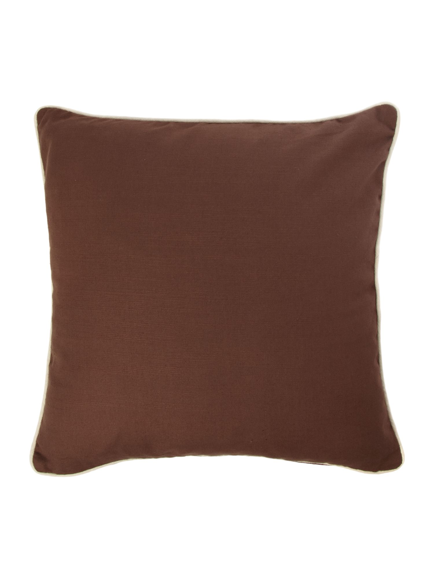 Brown cotton cushion with contrast piping