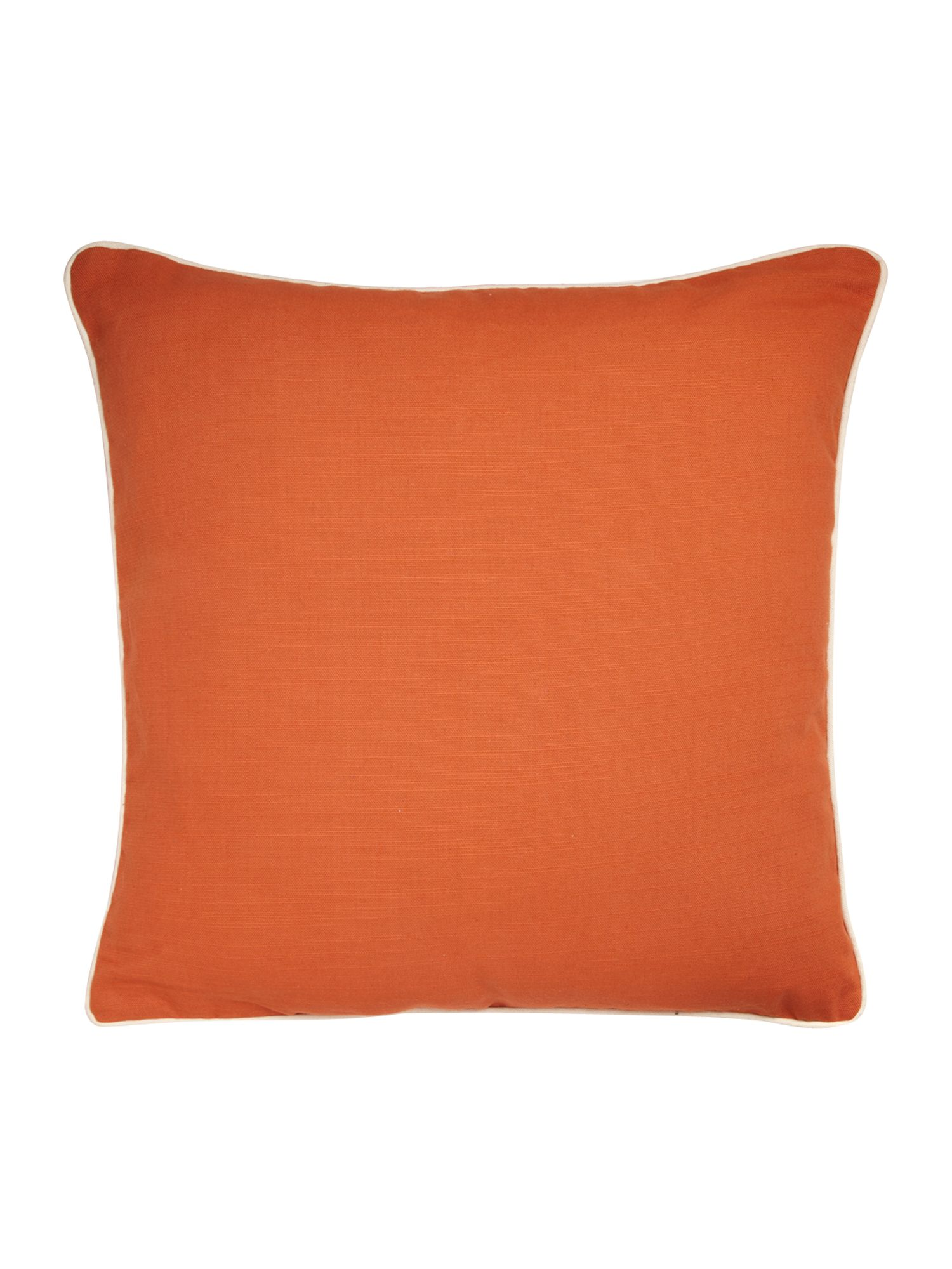Orange cotton cushion with contrast piping