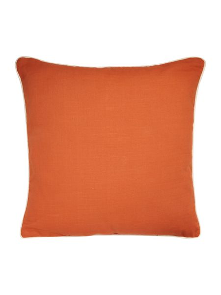 Linea Orange cotton cushion with contrast piping