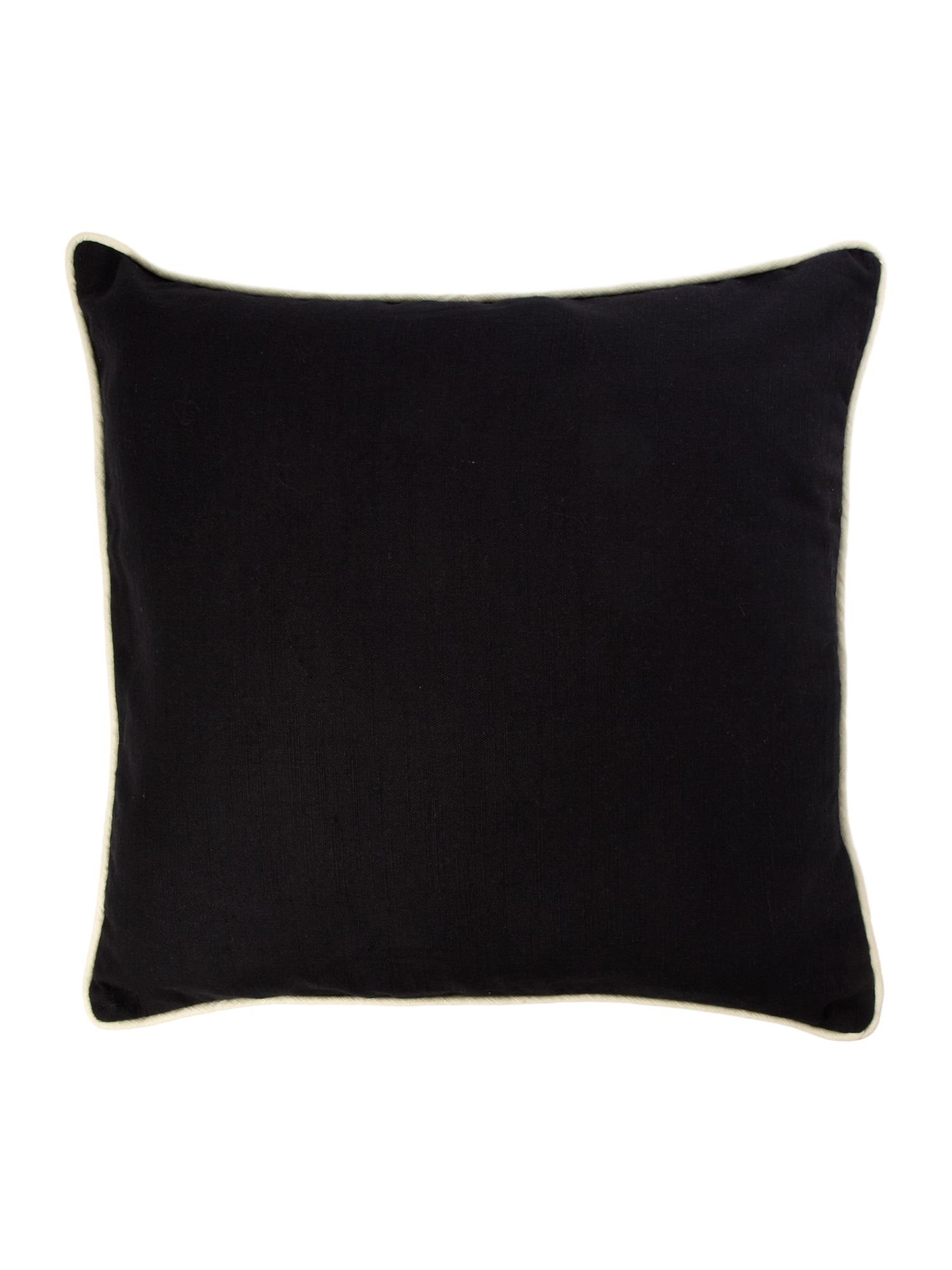 Black cotton cushion with contrast piping