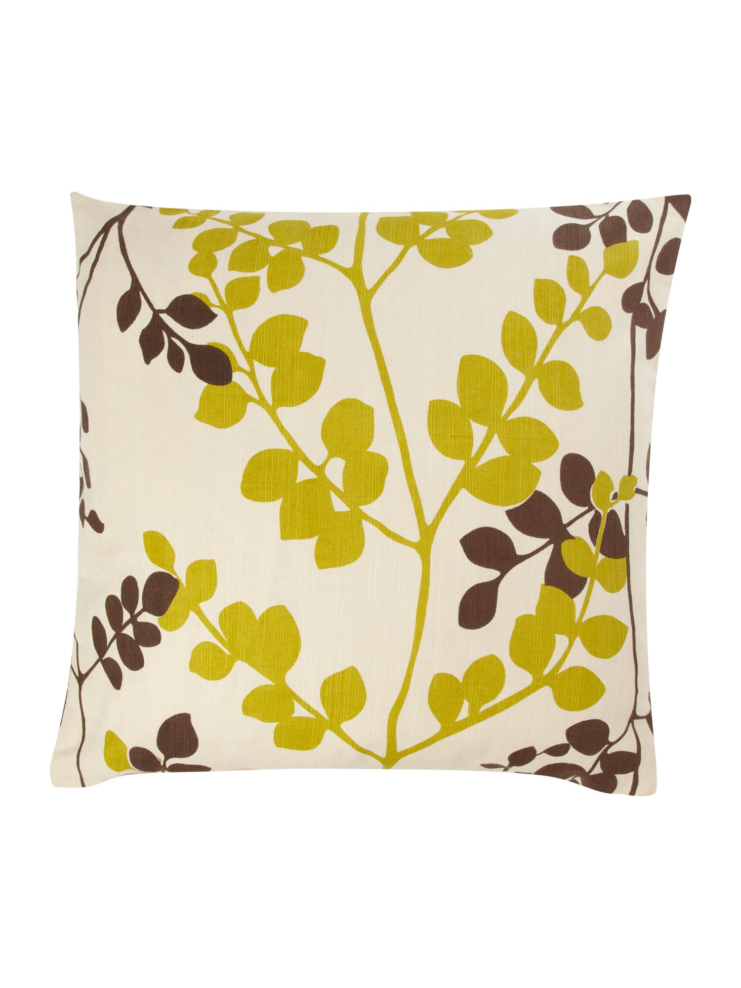 Lime and brown leaf print cushion