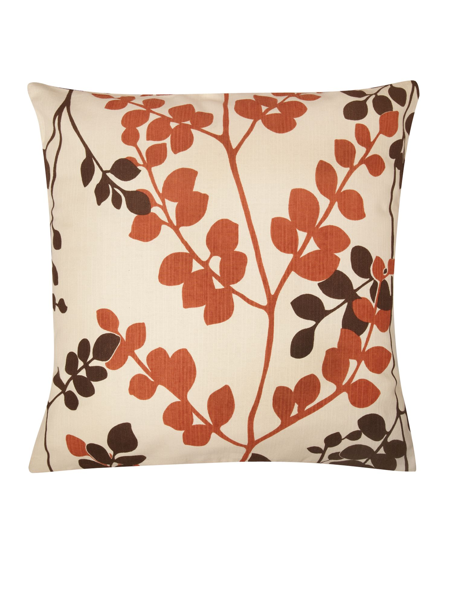 Orange and brown leaf print cushion