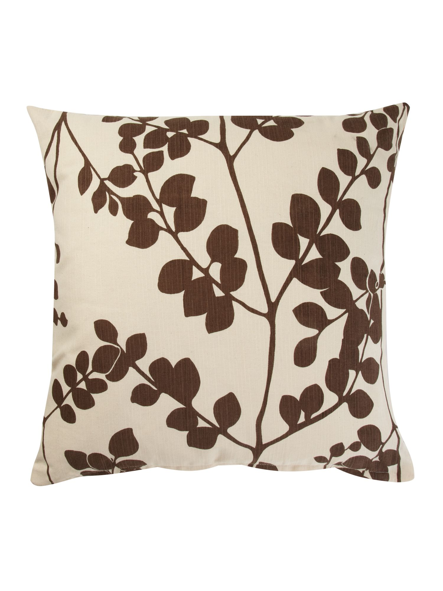 Brown leaf print cushion