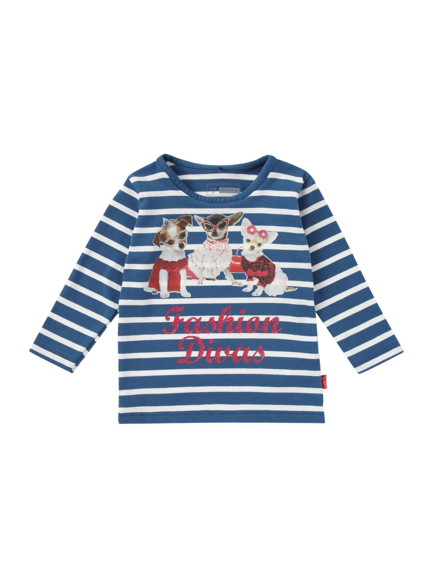 Girl`s long-sleeved dog graphic stripe T-shirt