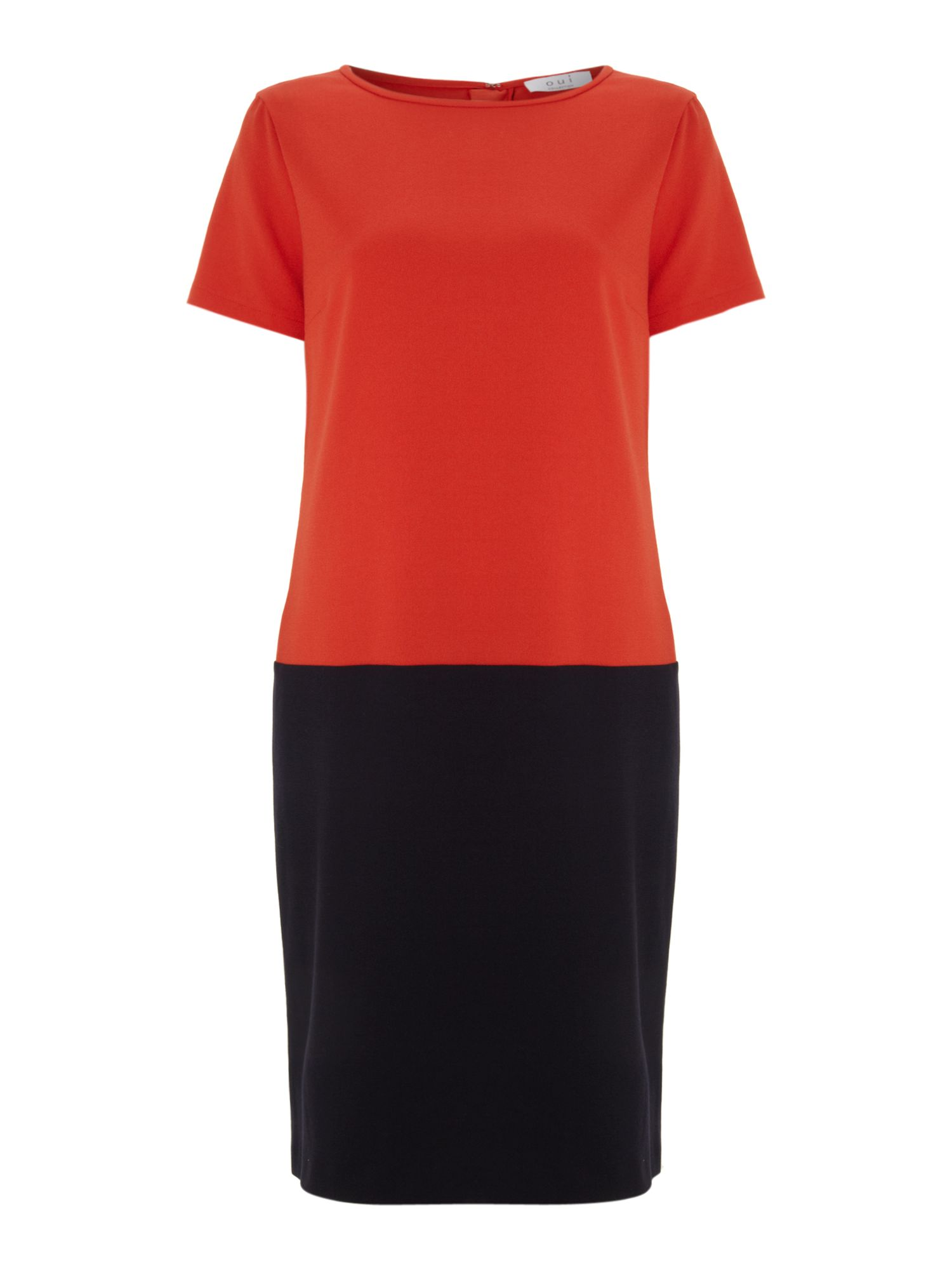 Short sleeve colour block shift dress