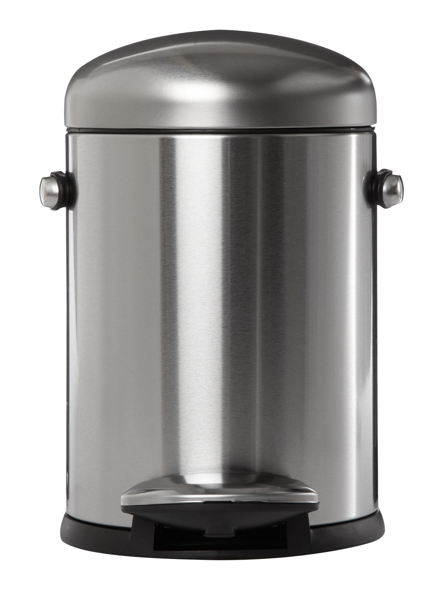 Simplehuman Mini round retro bin in brushed stainless steel
