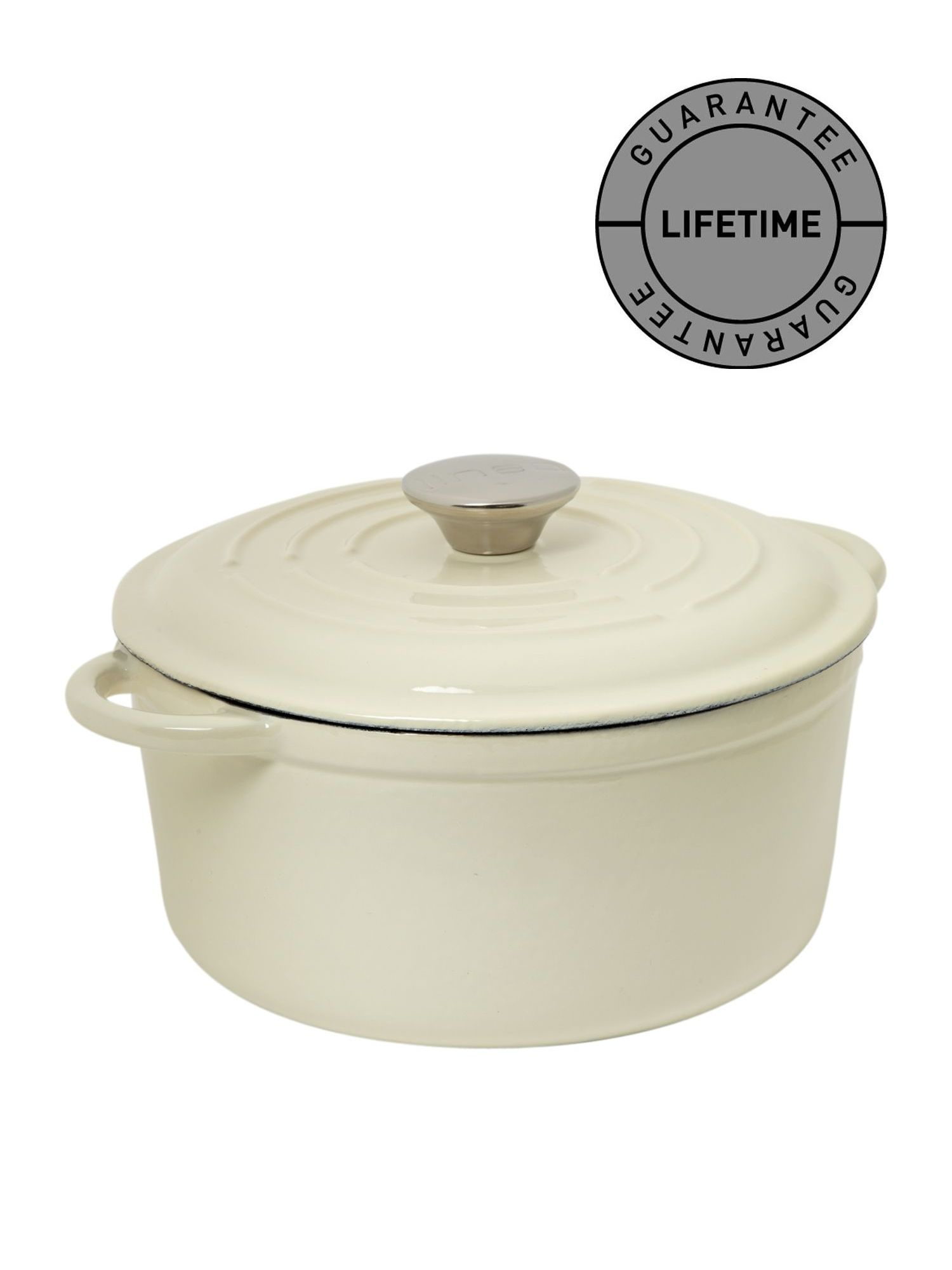 Cream cast iron round casserole, 21cm
