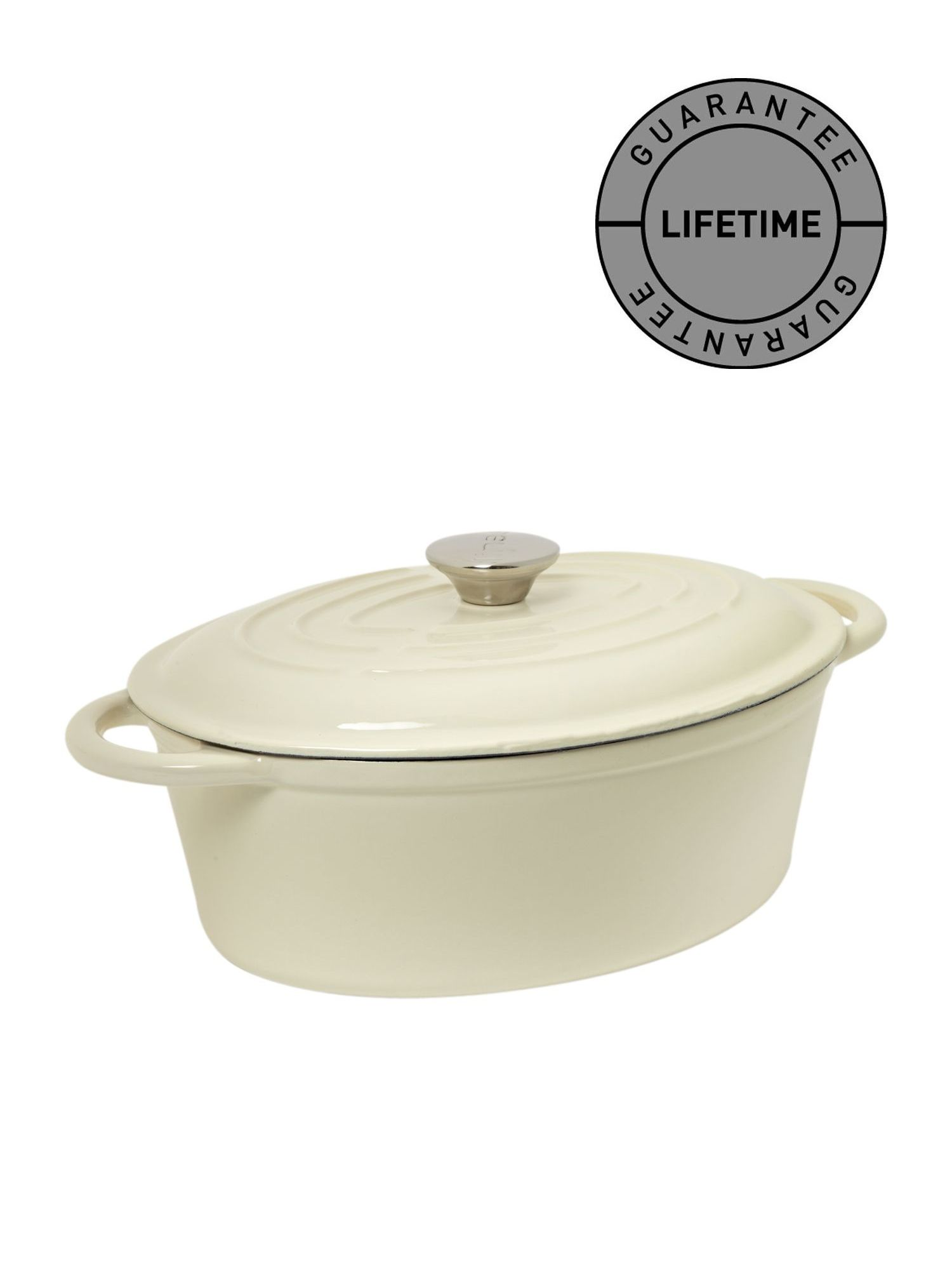 Cream cast iron oval casserole, 27cm