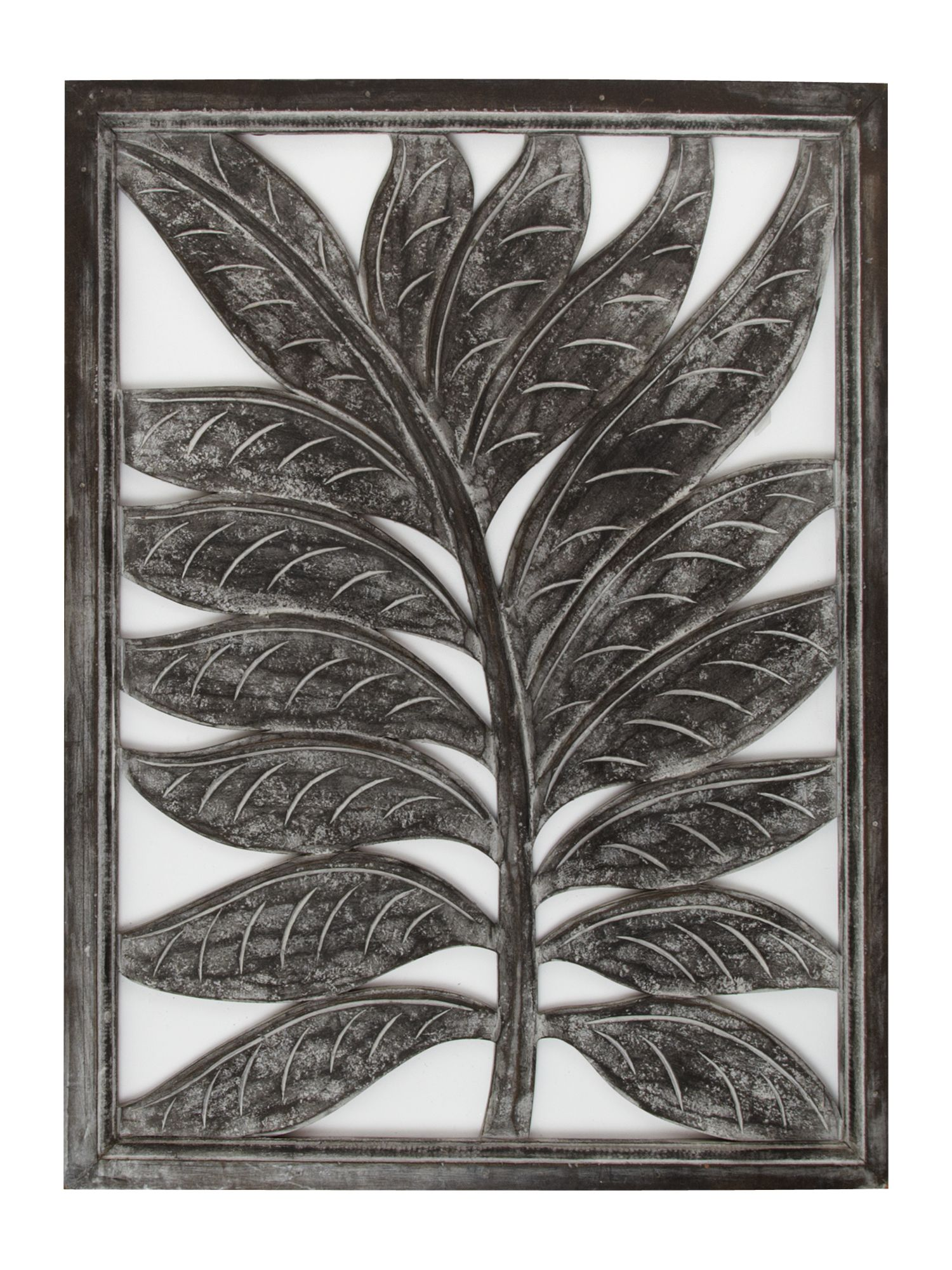 Carved leaf design wall plaque