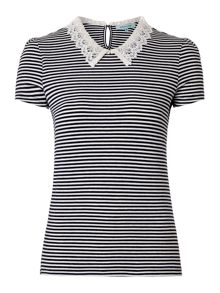 Ladies Crochet Collar Stripe Jersey Top
