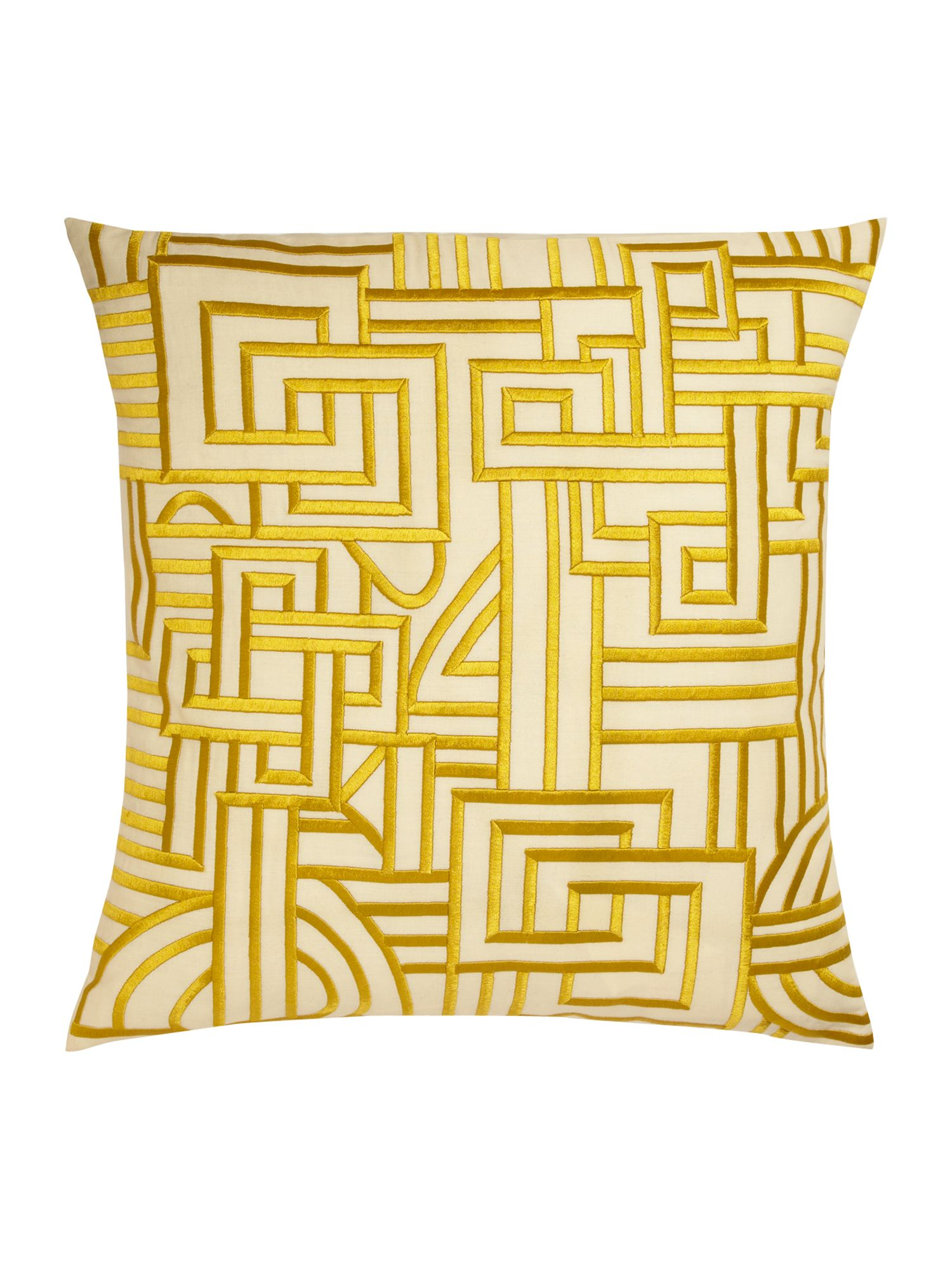 Chartreuse maze design embroidered cushion