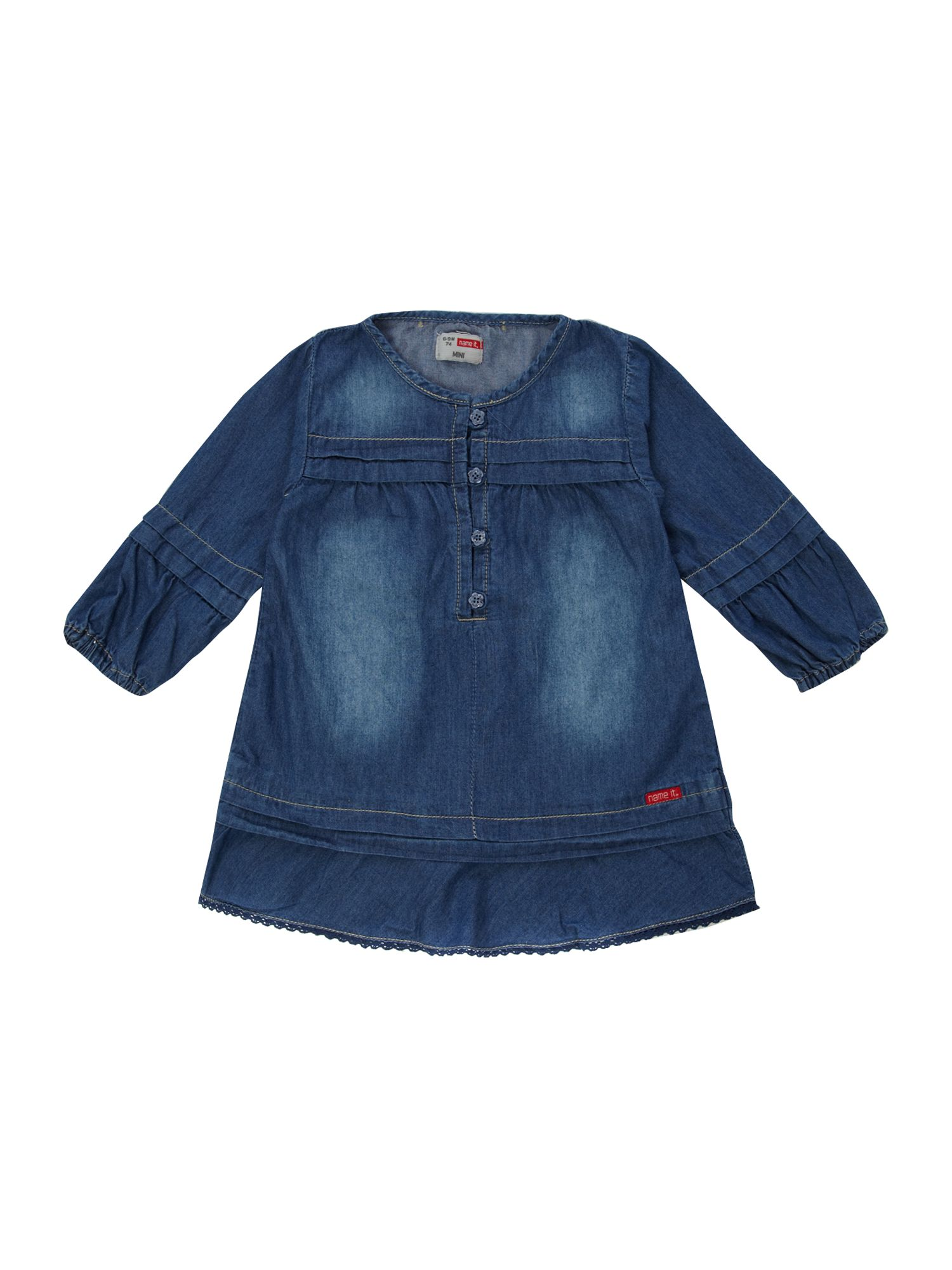 Girl`s long-sleeved denim dress