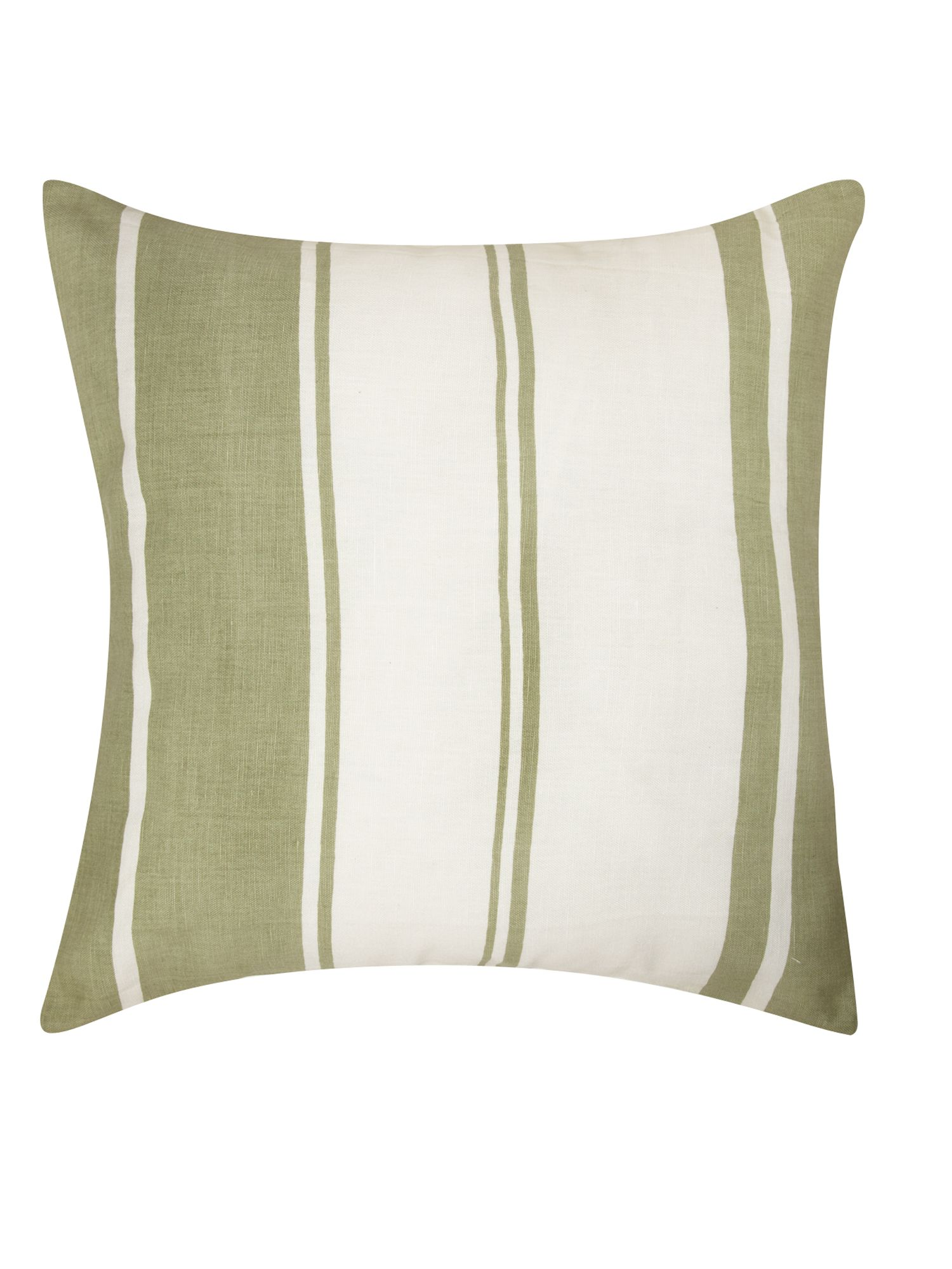 Green linen stripe cushion