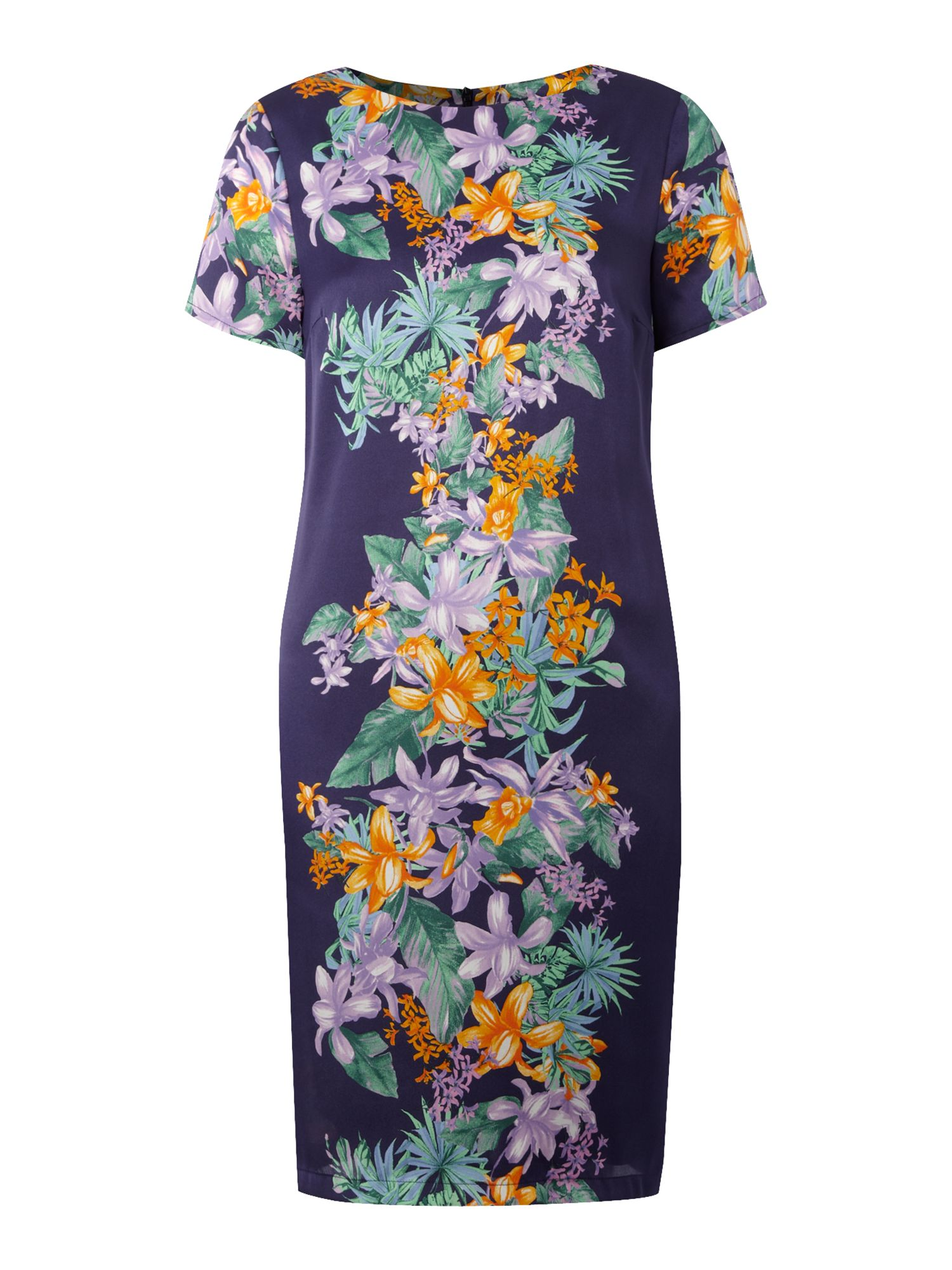 Short sleeve tropical print dress