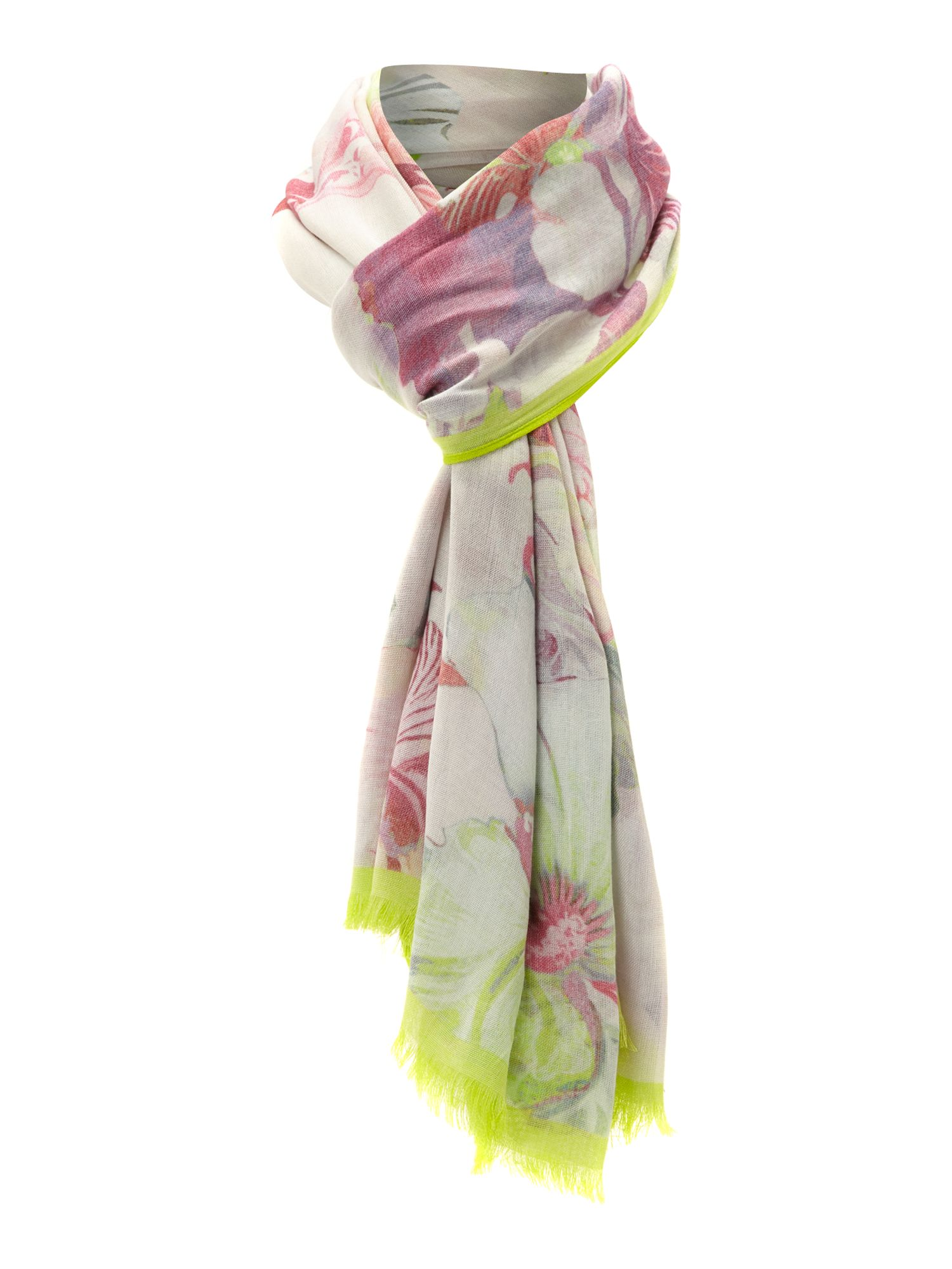 Treasured orchid print long scarf