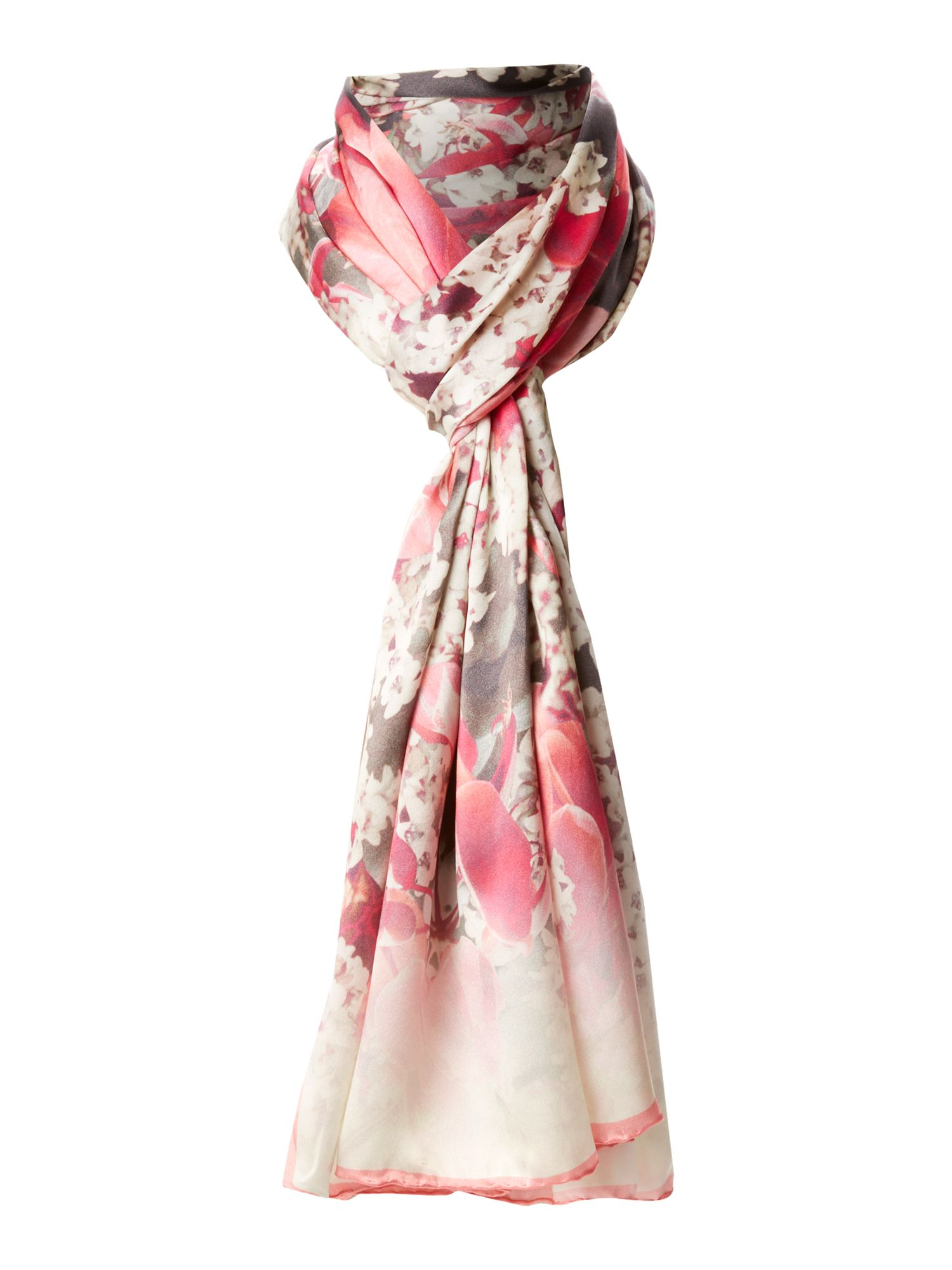 Bloom print long silk scarf