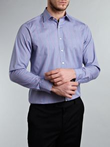 Check print detail shirt with 2 button cuff