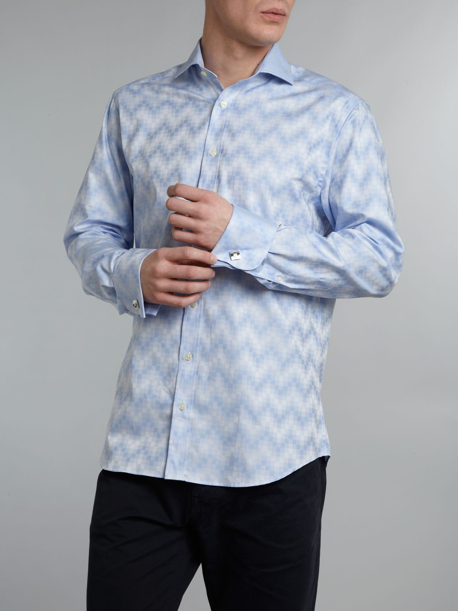 Twill squares cutaway collar double cuff shirt