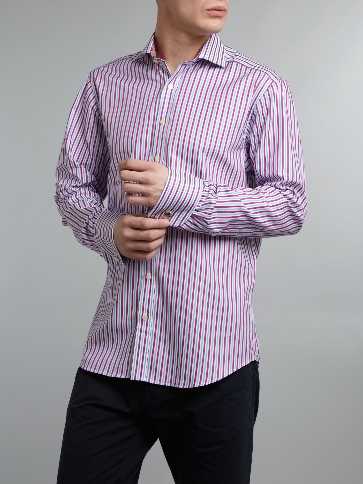 Satin stripe cutaway collar double cuff shirt