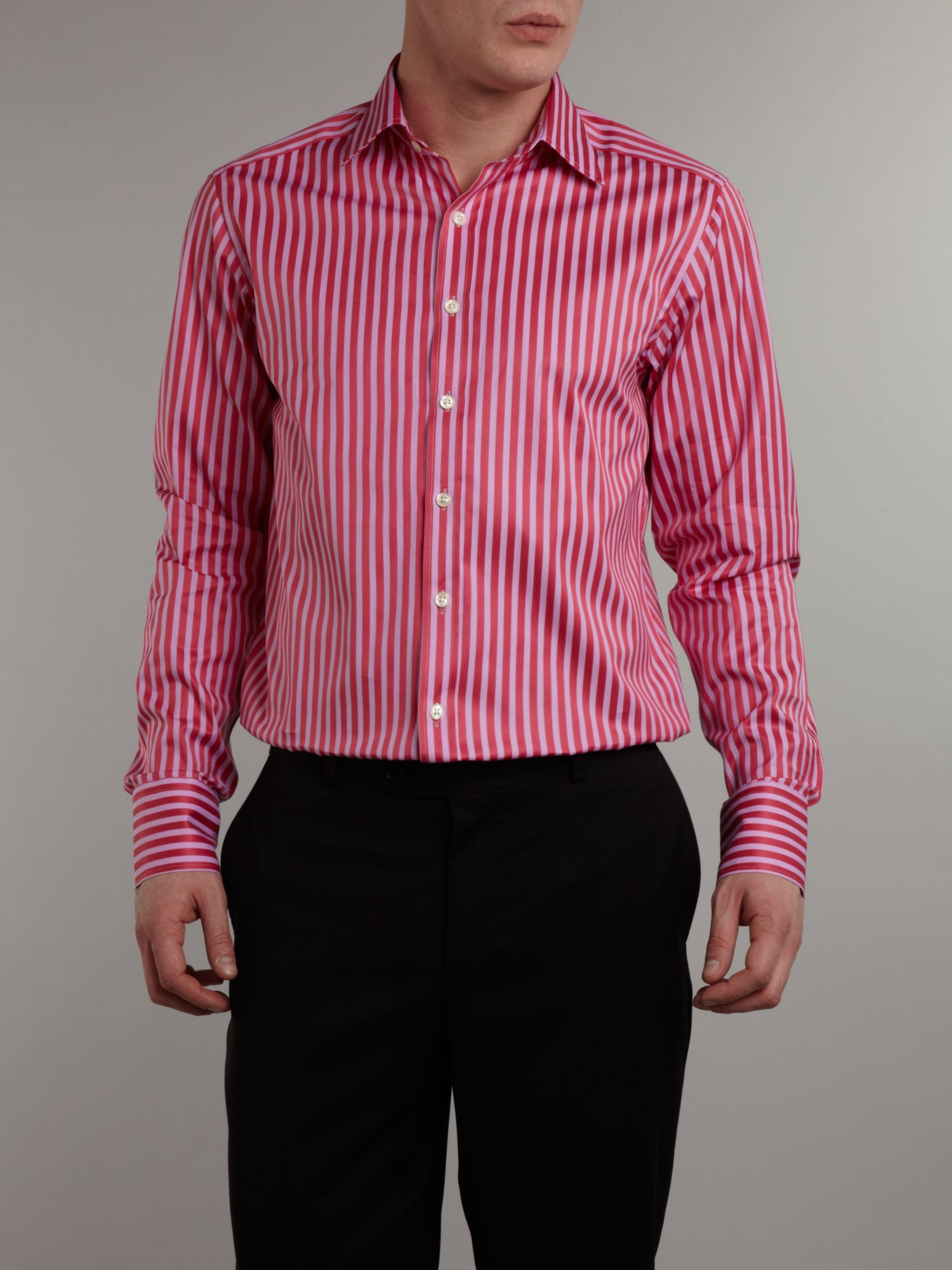 Bold satin stripe 3 button cuff shirt