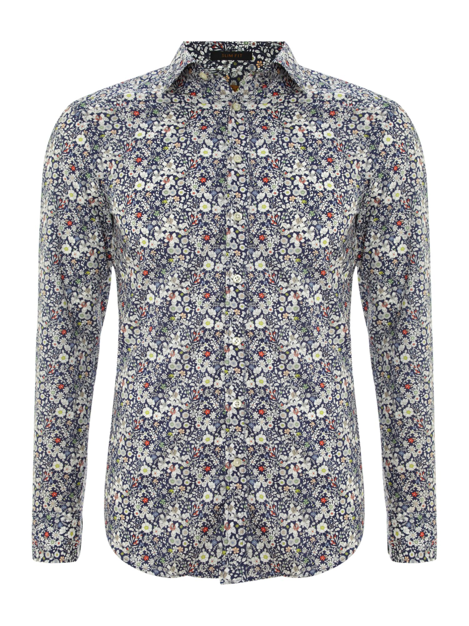 Floral print 3 button cuff shirt