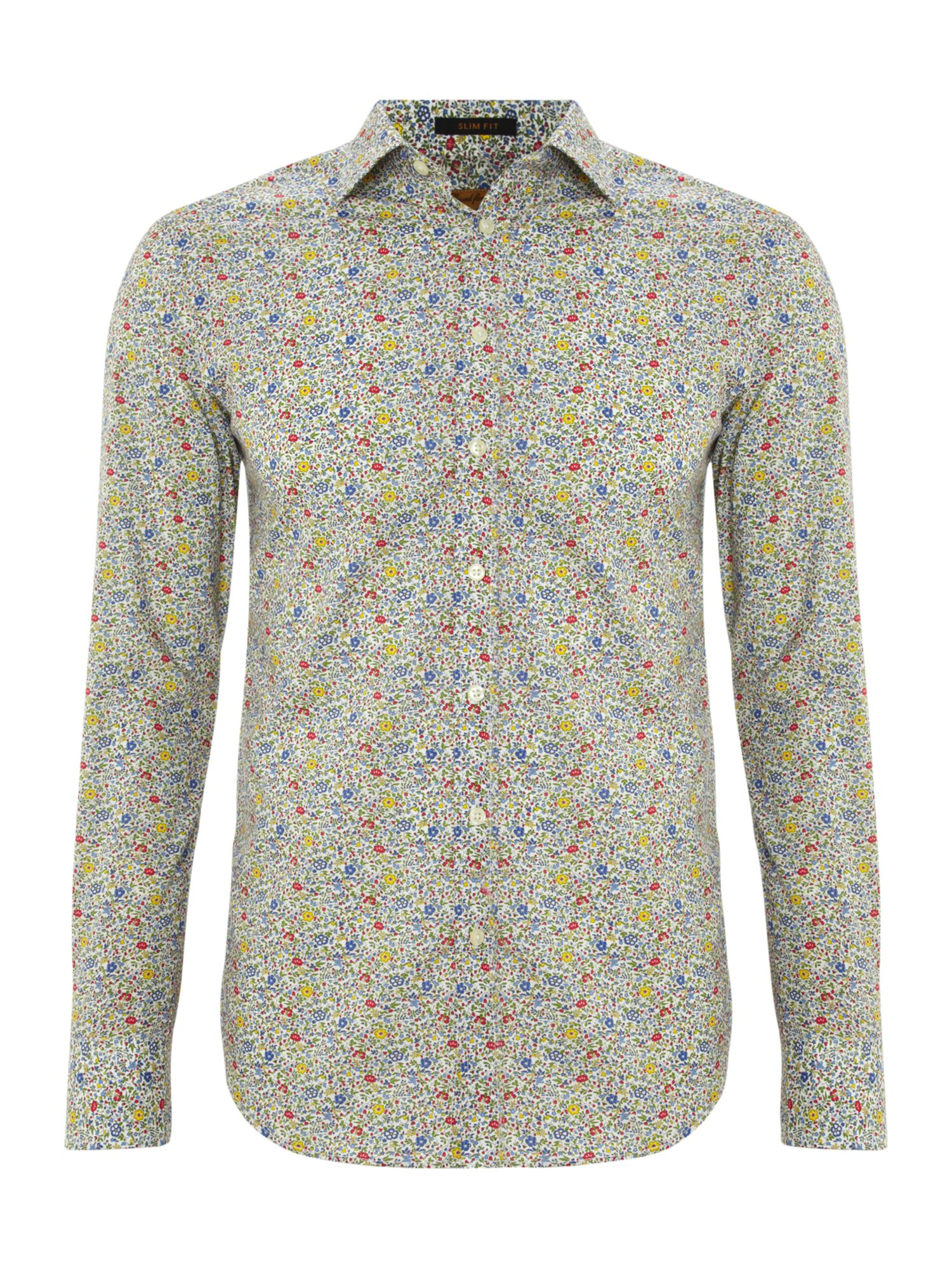 Small flower print 3 button cuff shirt