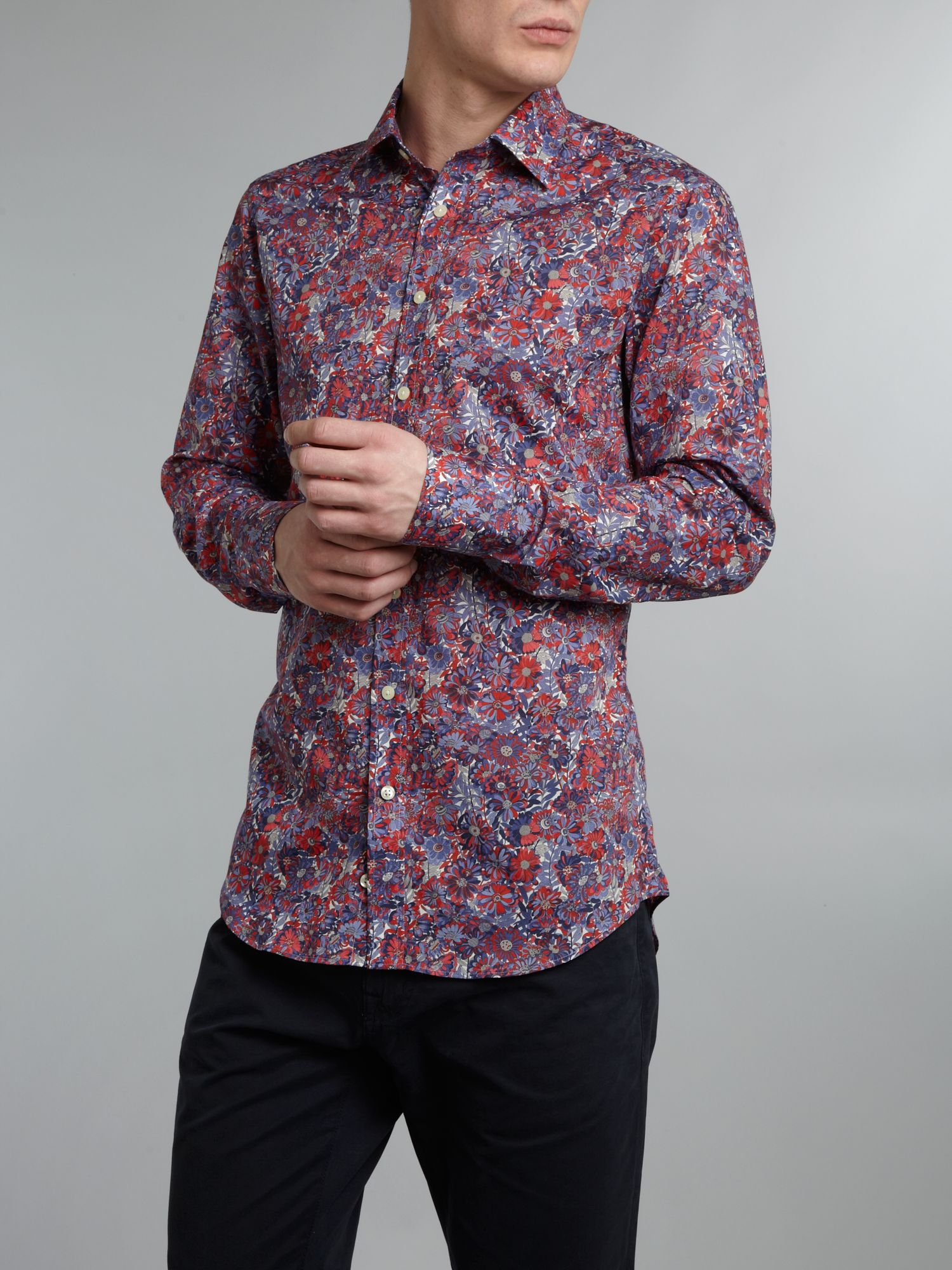 Bold flower print 3 button cuff shirt