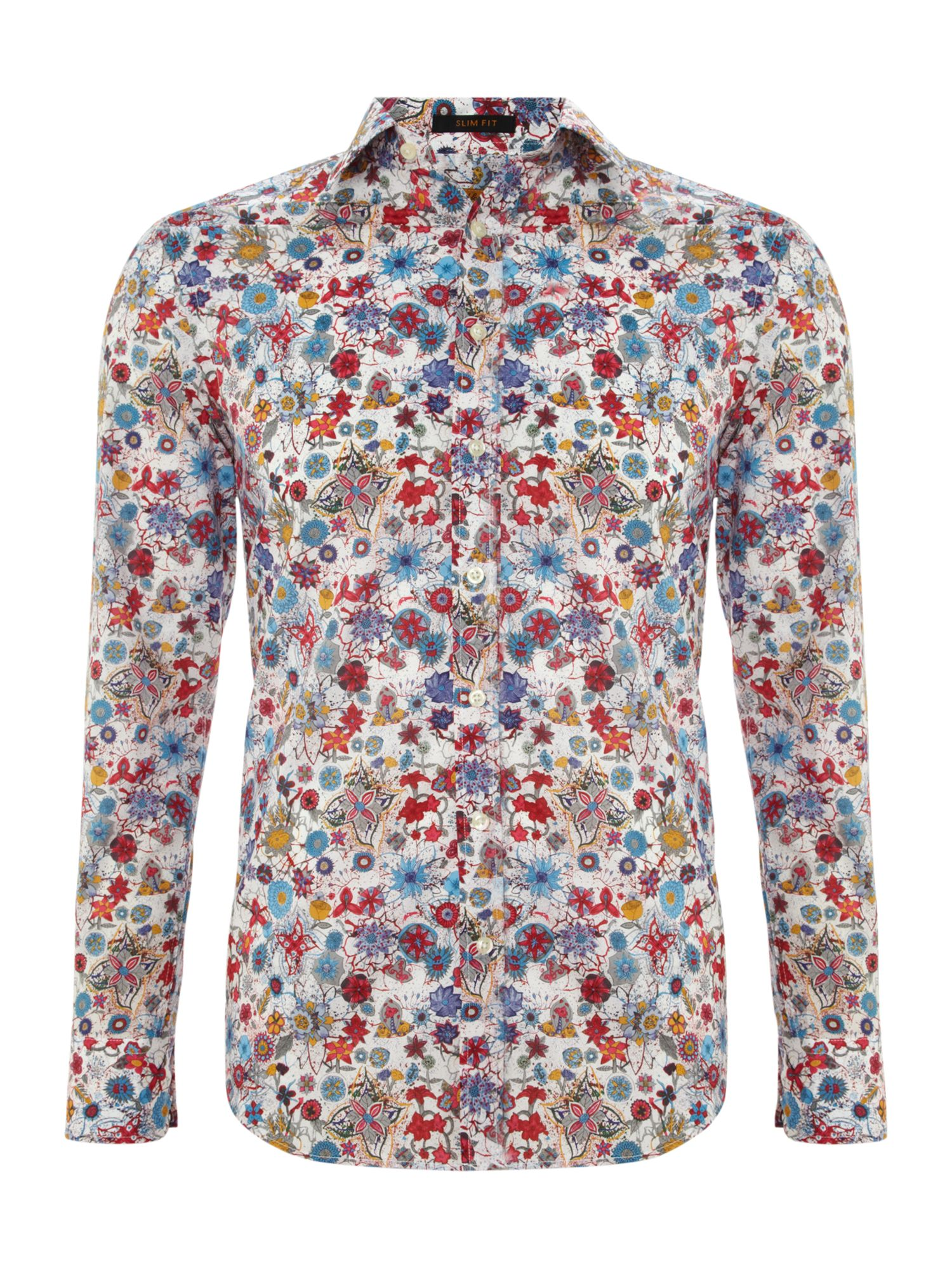 Painted flower print 3 button cuff shirt