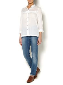 Ladies Step Hem Shirt with Button Detail