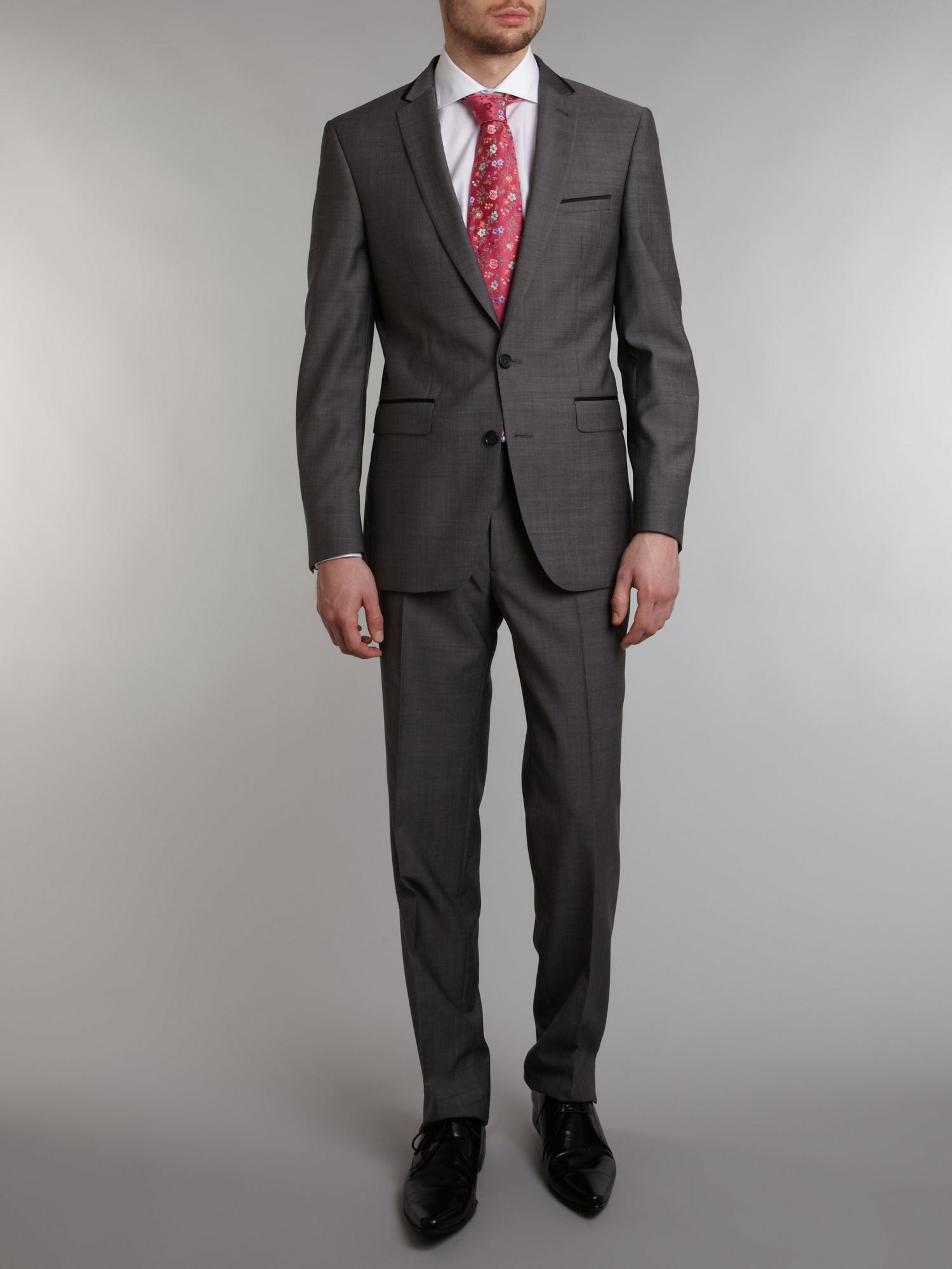 Notch satin detail tonic suit