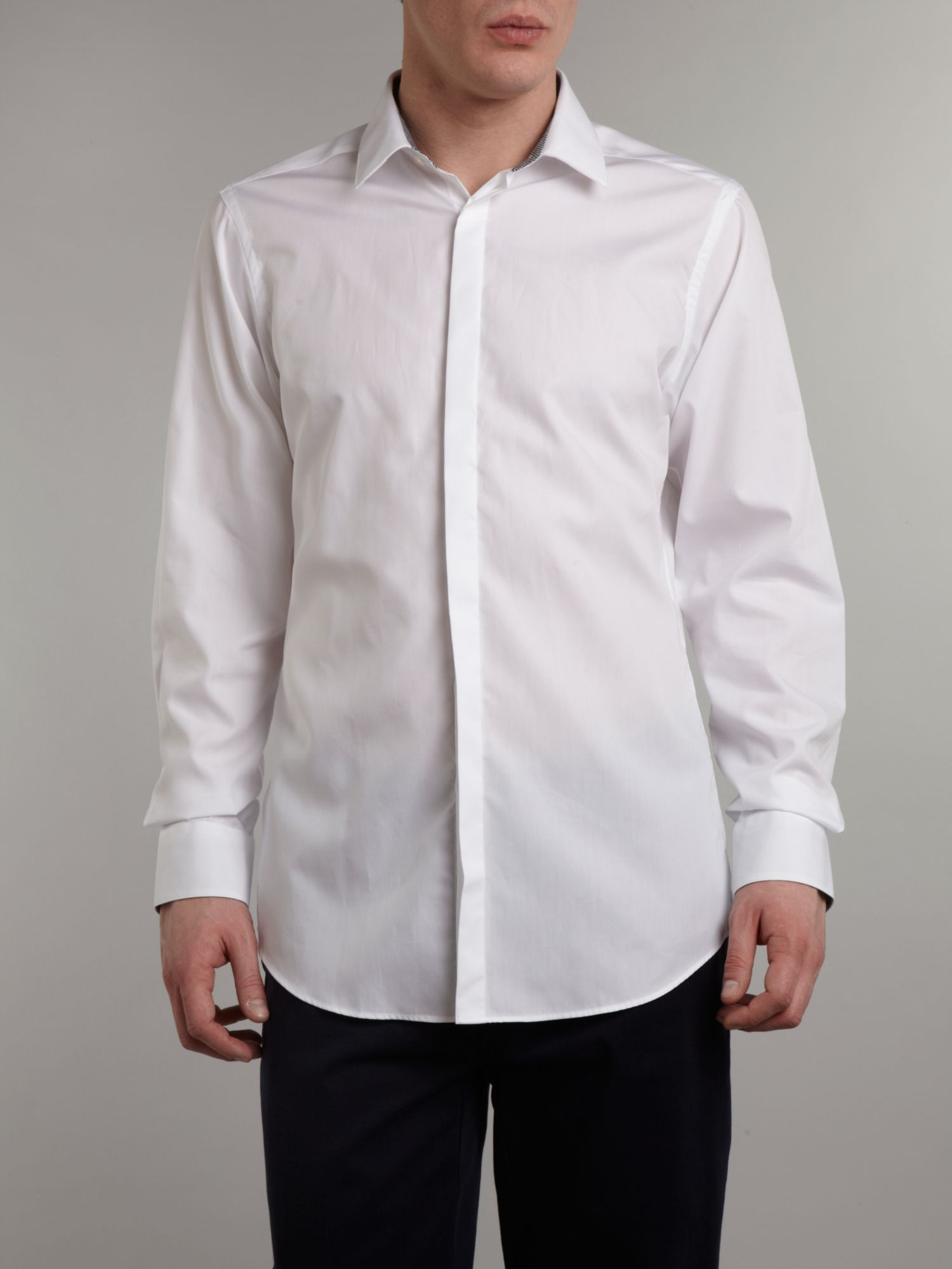 Poplin regular fit gingham trim shirt