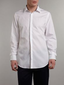 Poplin slim fit gingham trim shirt