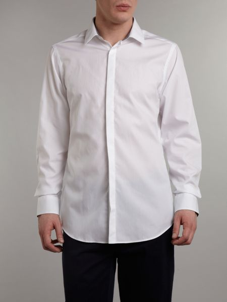 Simon Carter Poplin slim fit gingham trim shirt