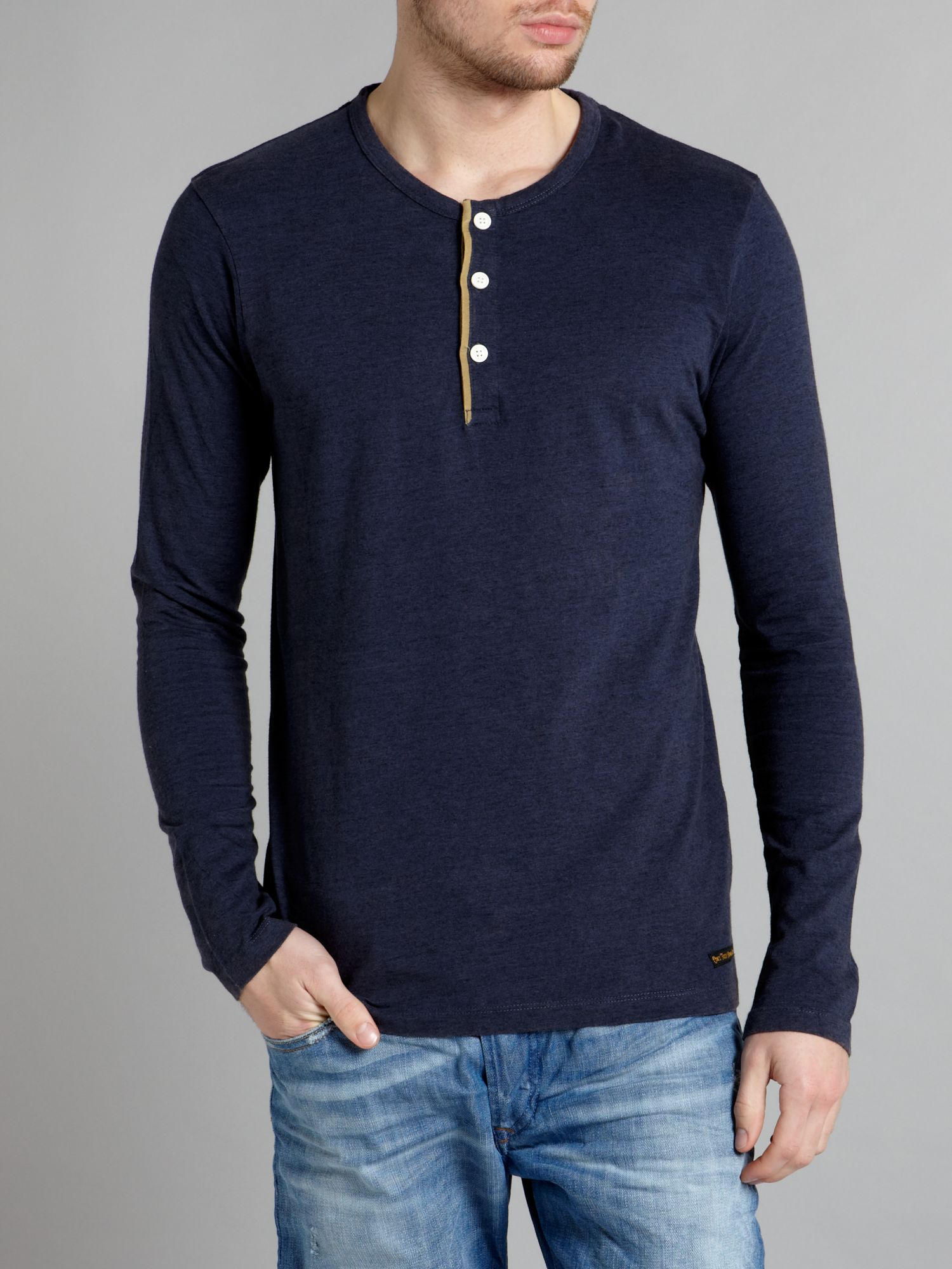 Long-sleeved rugged marl grandad T-shirt