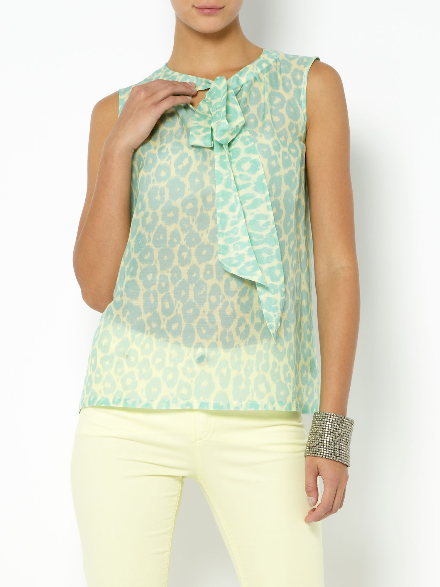 Sleeveless faded leopard print top
