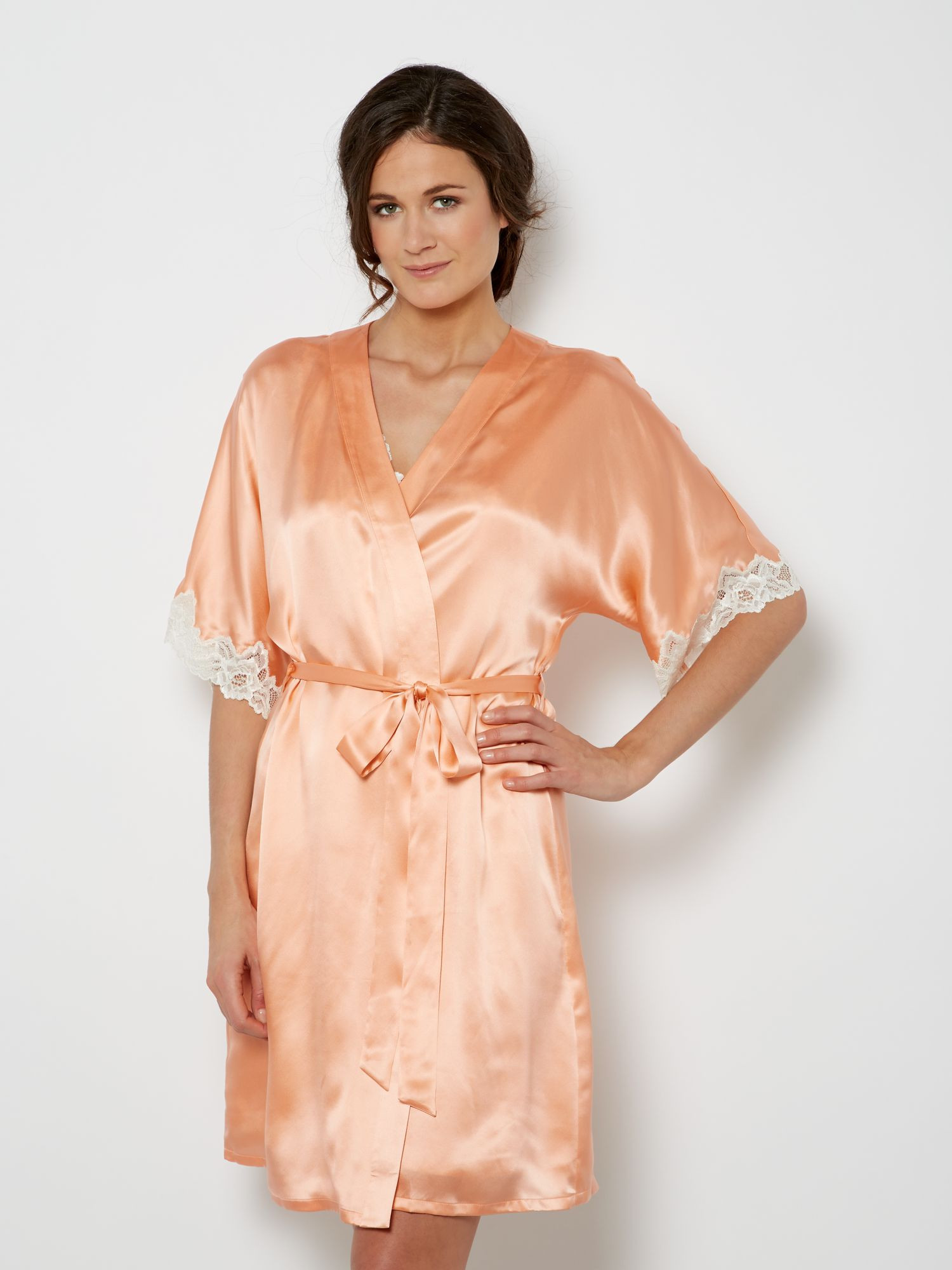 Silk lace trim robe