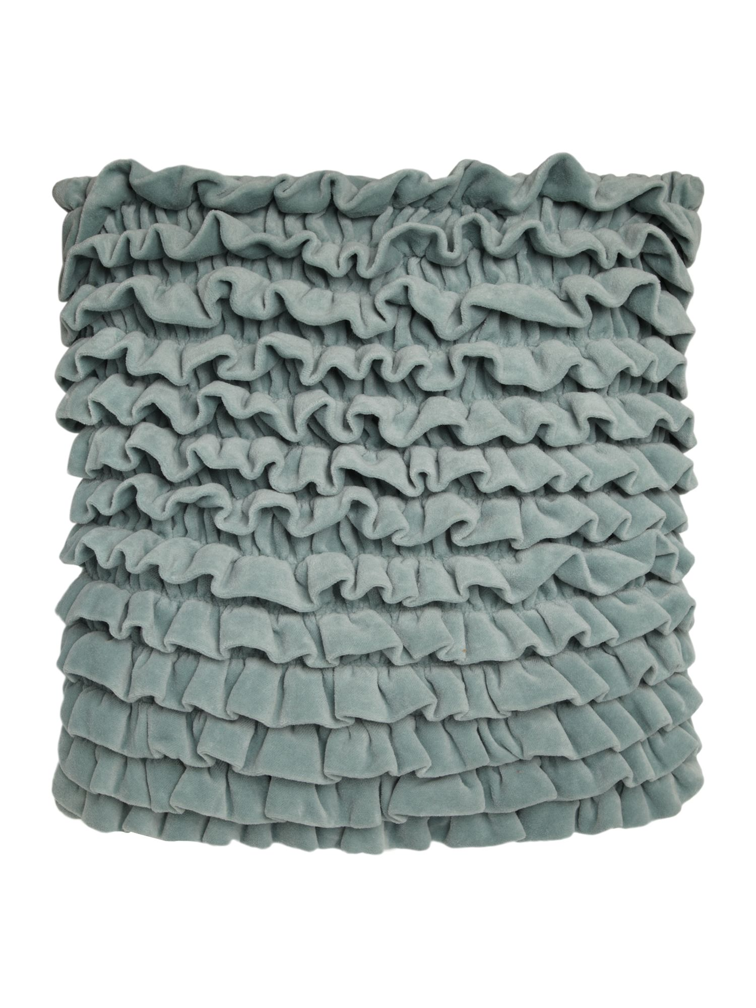 Sage frilled velvet cushion