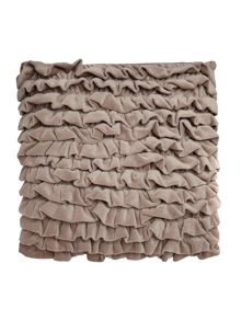 Grey frilled velvet cushion