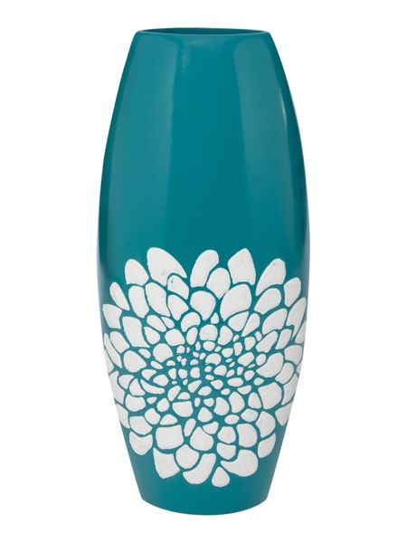Linea Teal ceramic vase with flower detail