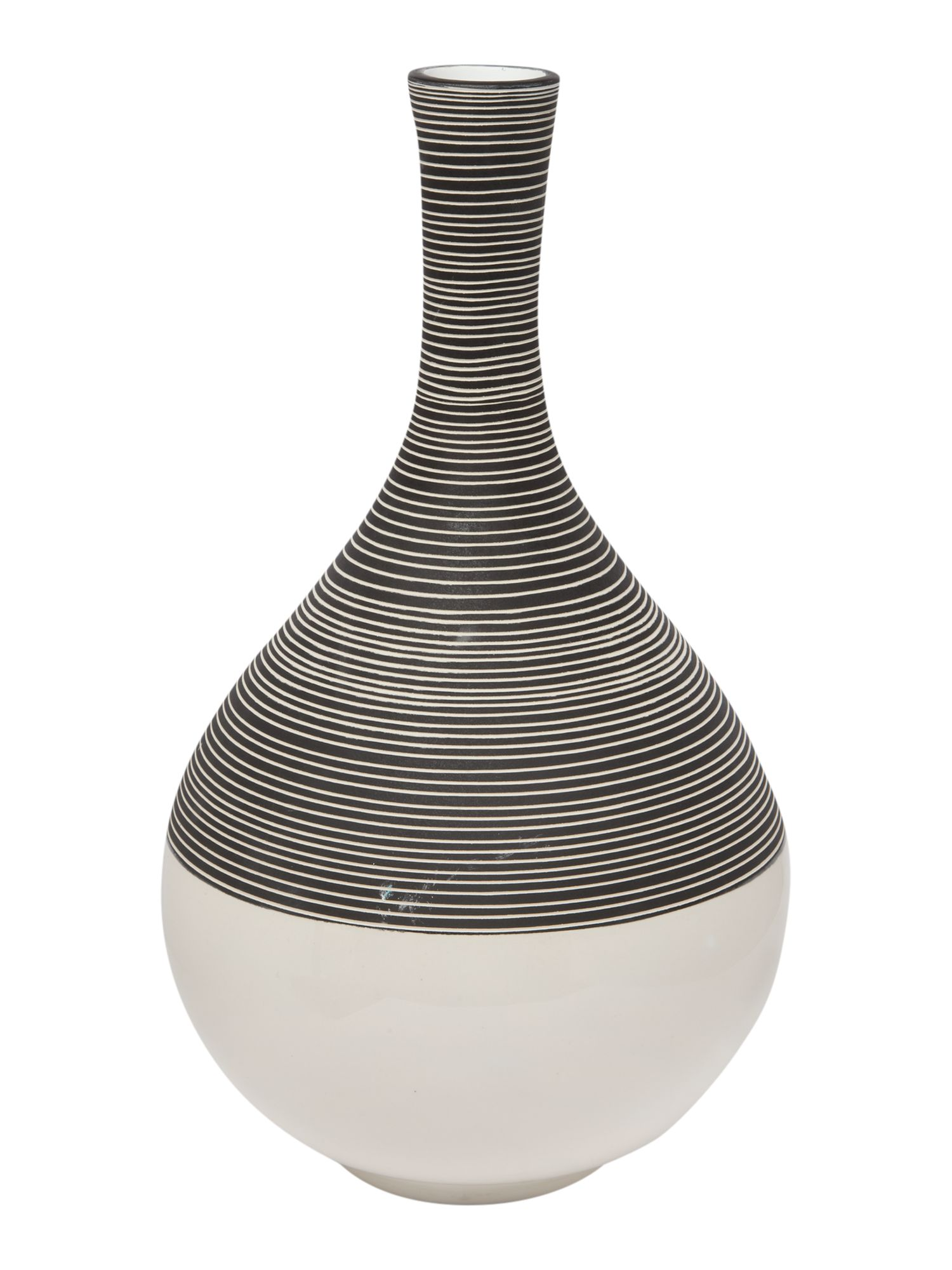 Ceramic vase with ribbed detail