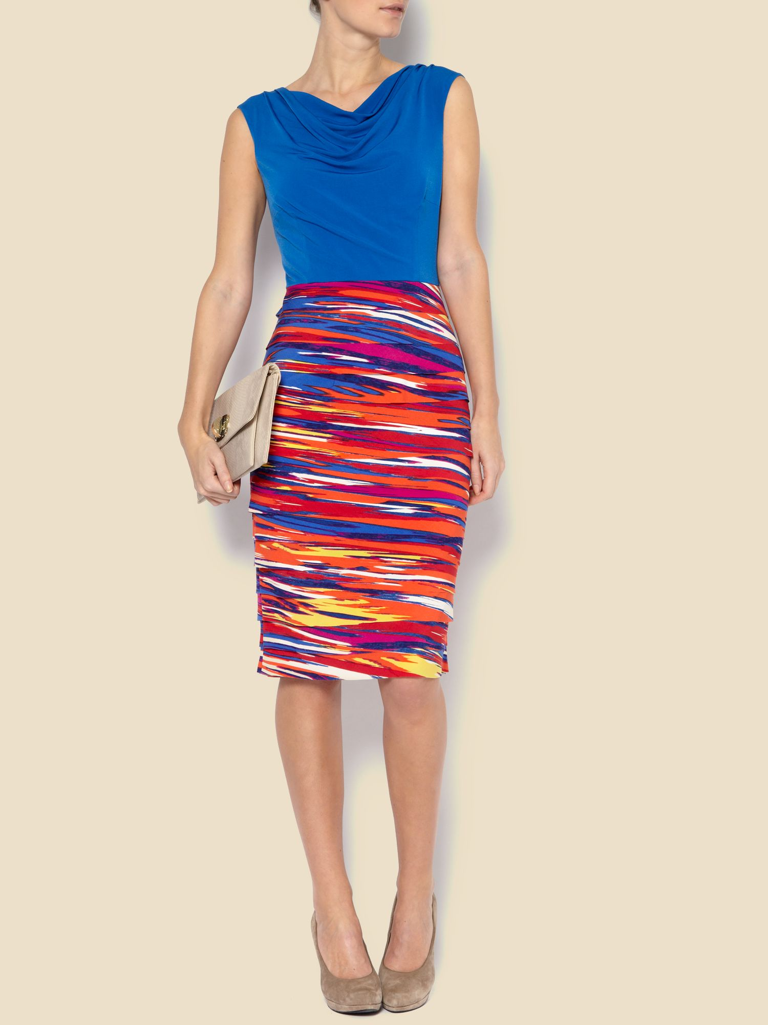 Brush stroke cowl neck shutter dress