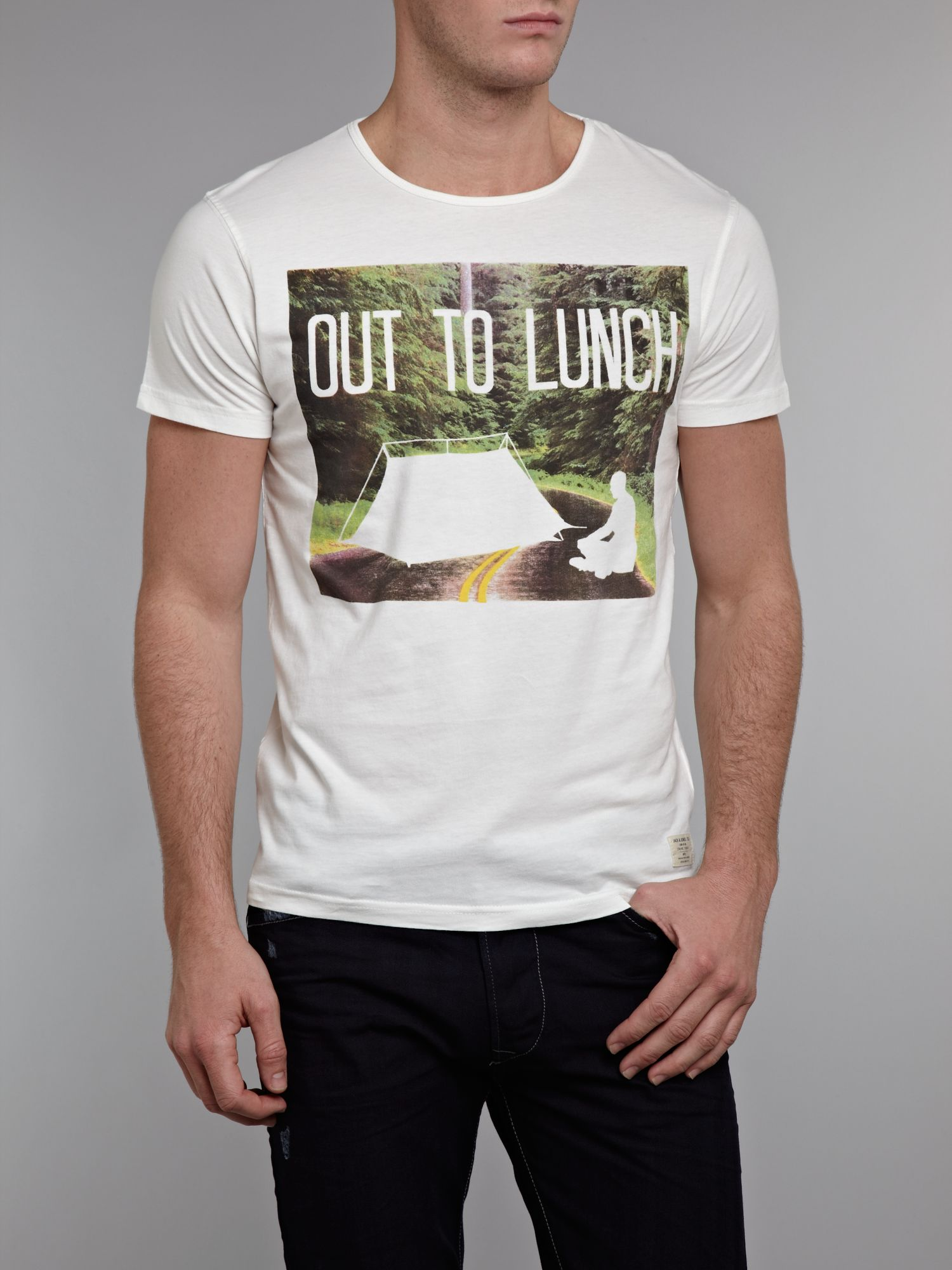 Short sleeved `out to lunch` graphic T-shirt