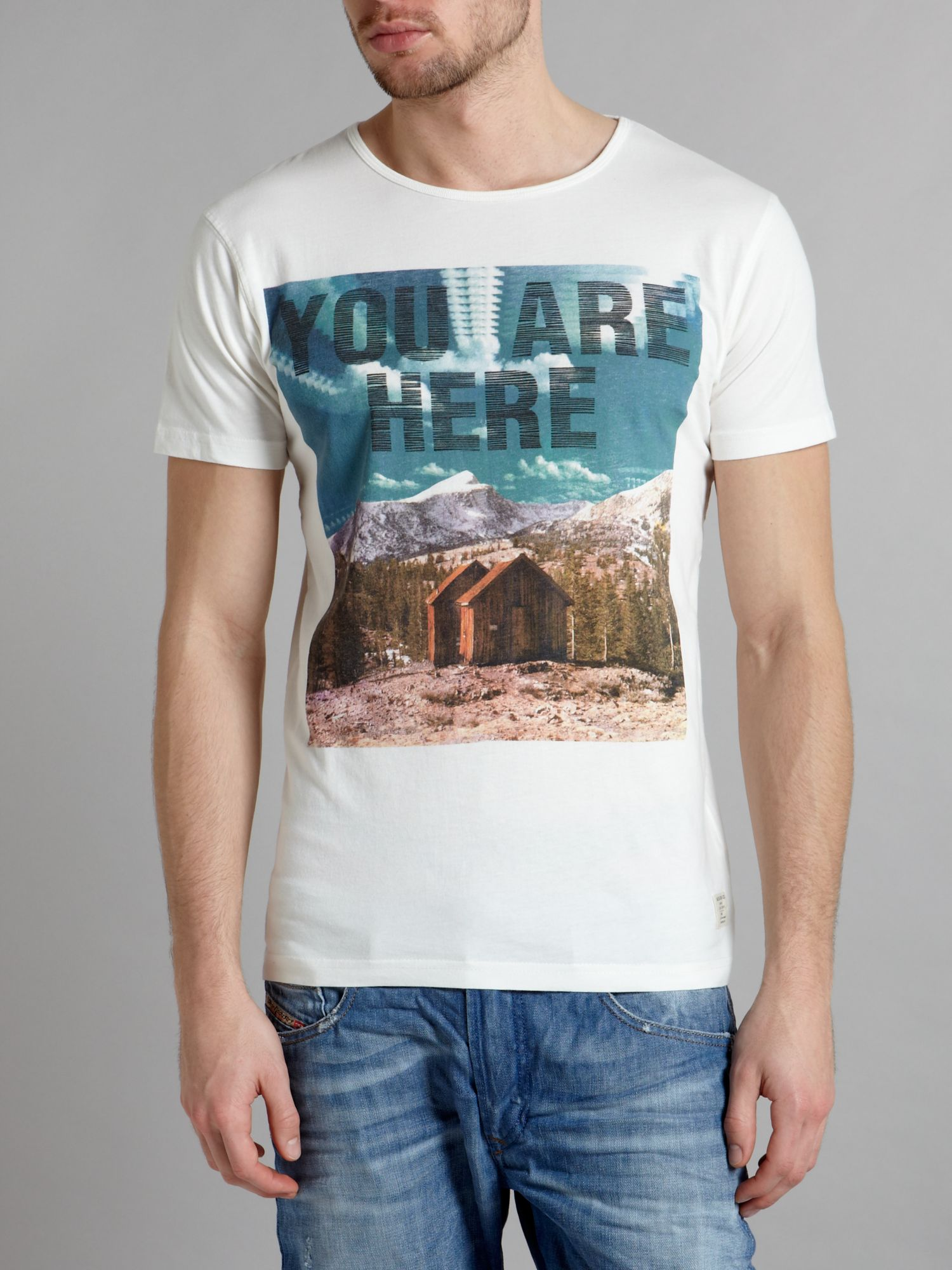 Short sleeved `you are here` graphic T-shirt