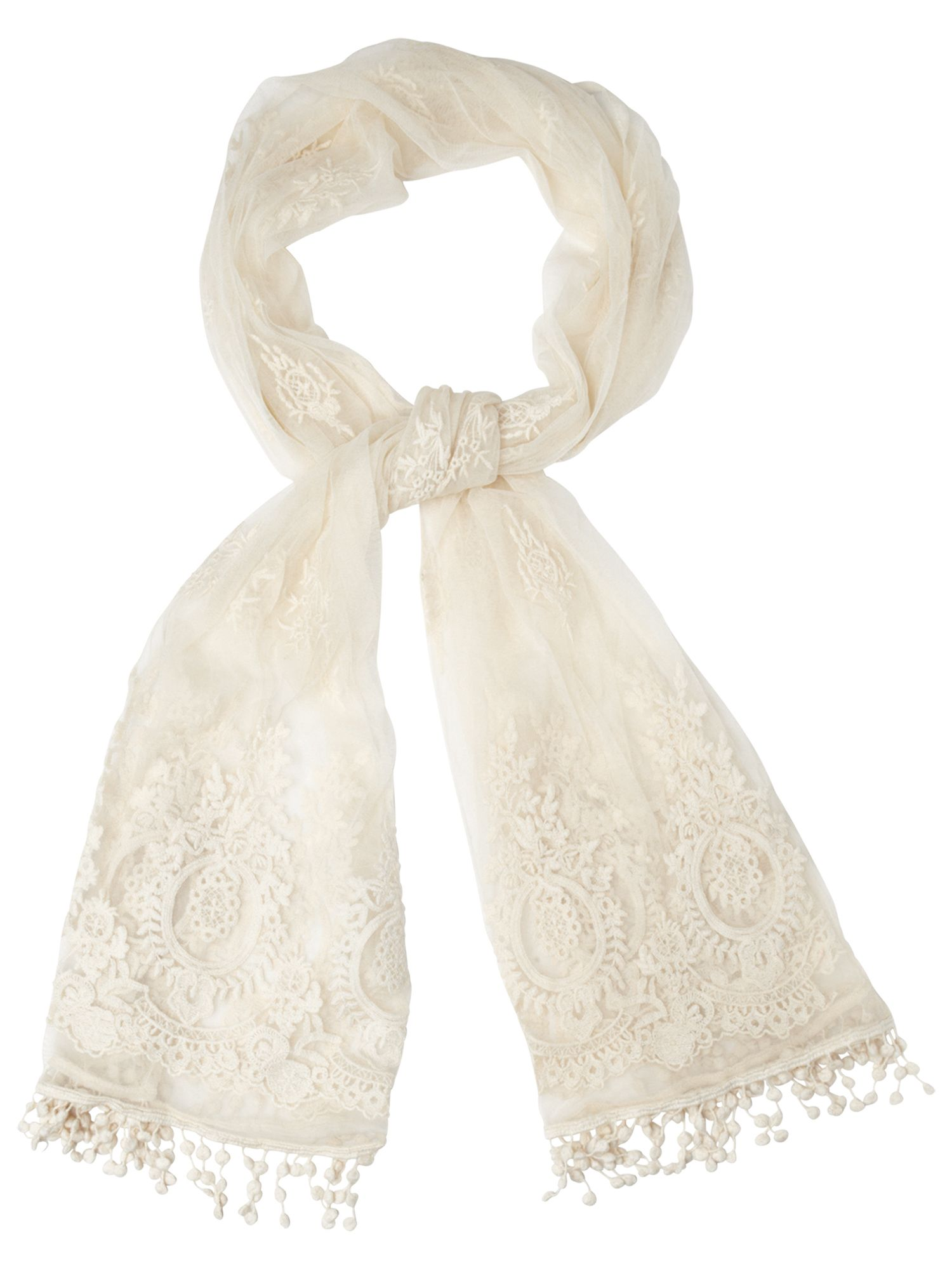 Maitea embroidered mesh scarf