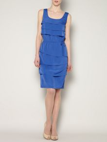 Sleeveless layered tie waist dress