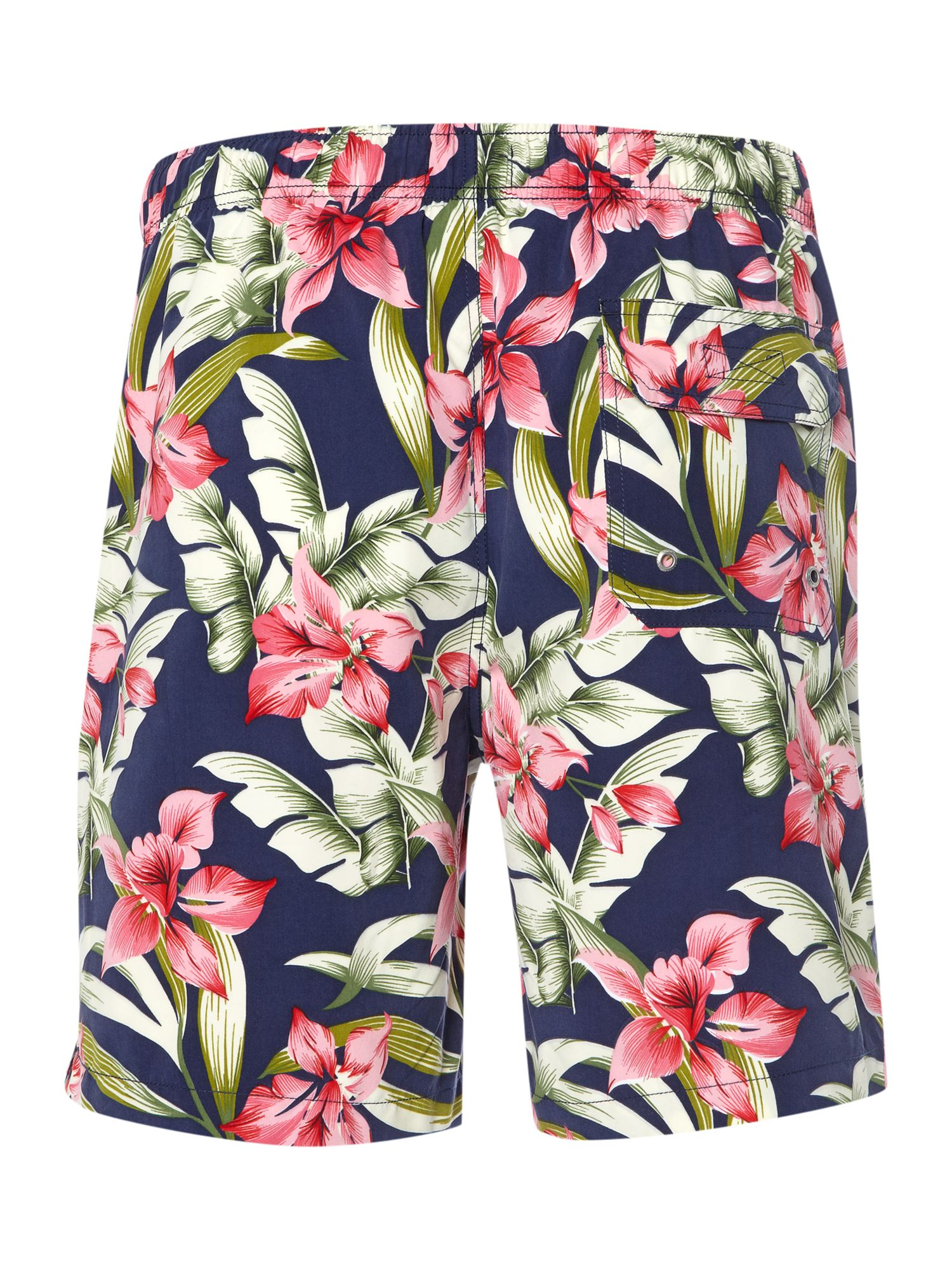 Multi coloured hibiscus print swim short