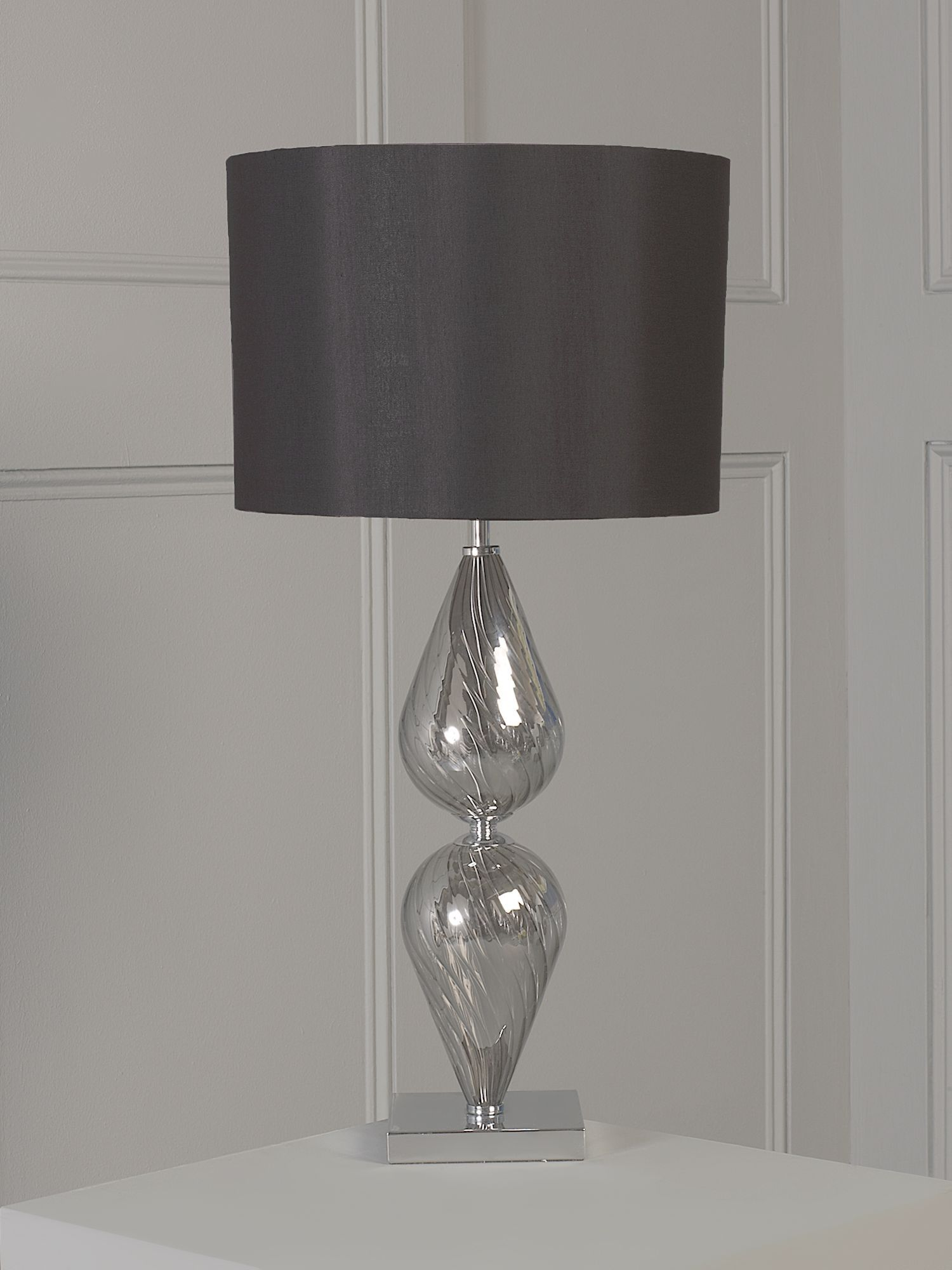 Teardrop glass base table lamp