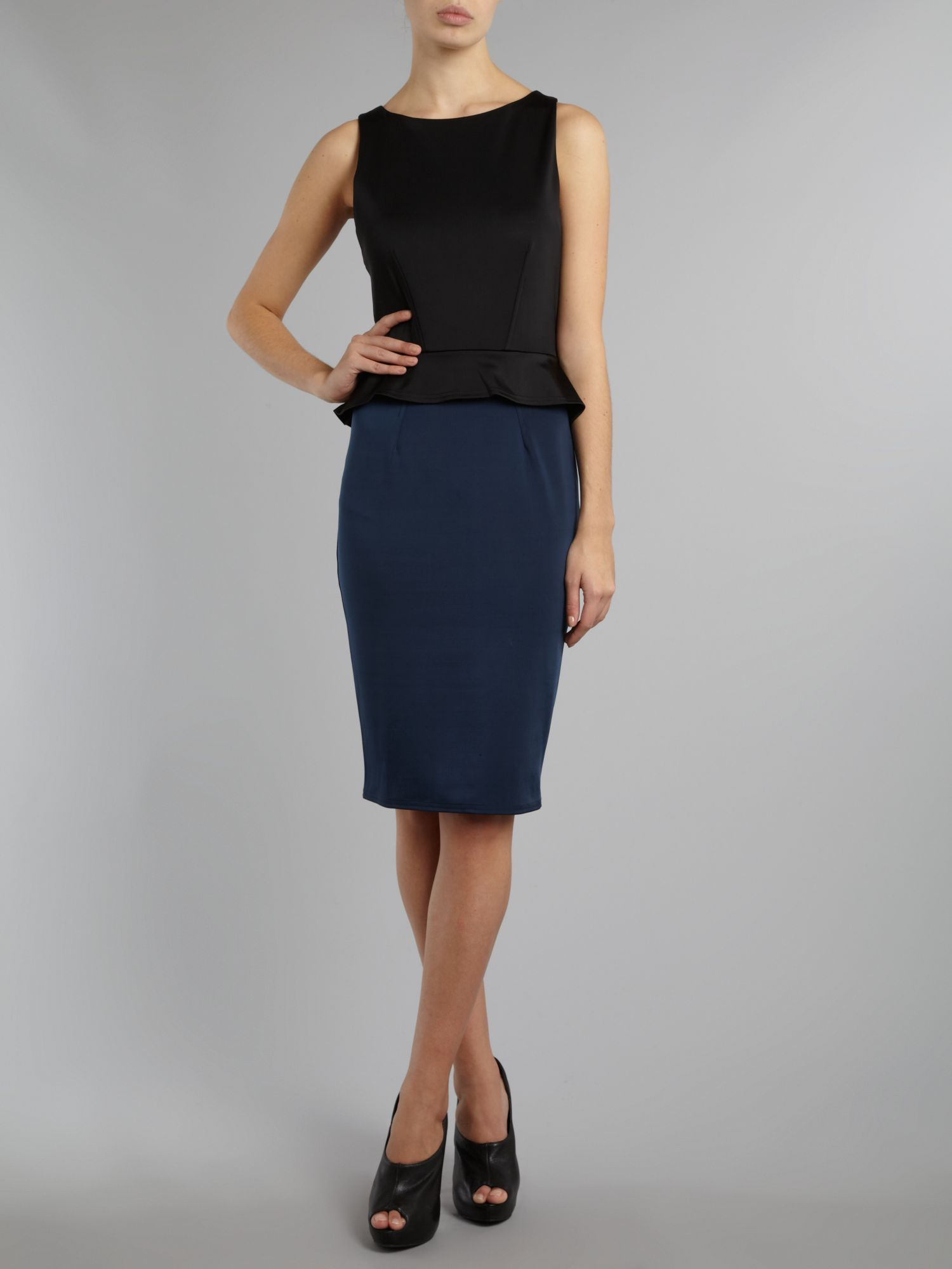 Contrast peplum scuba dress